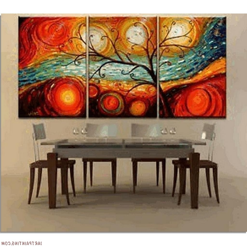 Abstract Paintings 3Pcs Canvas Set Intended For 2018 Modern Abstract Oil Painting Wall Art (View 2 of 15)