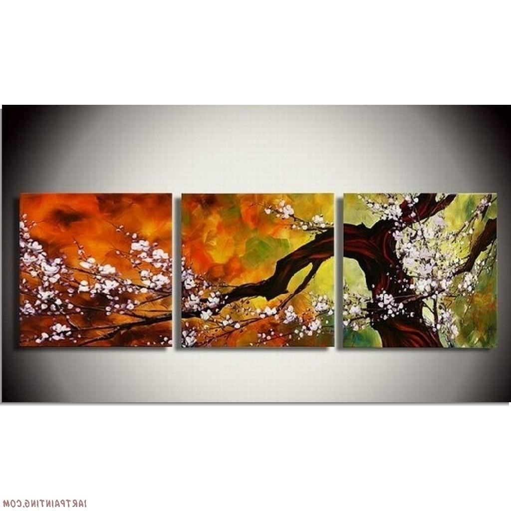 Abstract Paintings 3Pcs Canvas Set Modern Acrylic On Canvas Wall Throughout Newest Abstract Wall Art Canada (View 2 of 15)