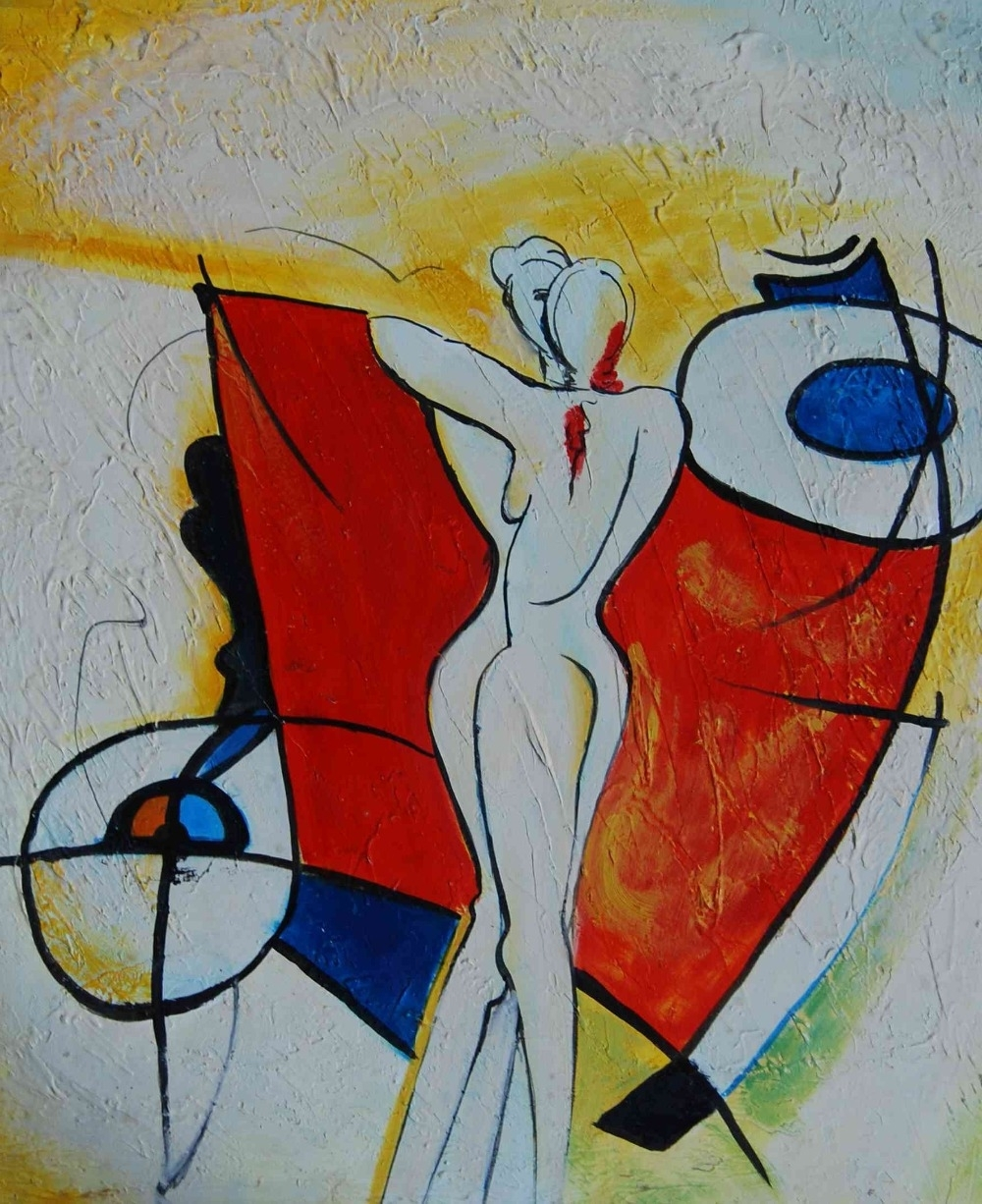 Abstract Two Girls Body Painting Print On Canvas Bedroom In Well Known Abstract Body Wall Art (View 9 of 15)