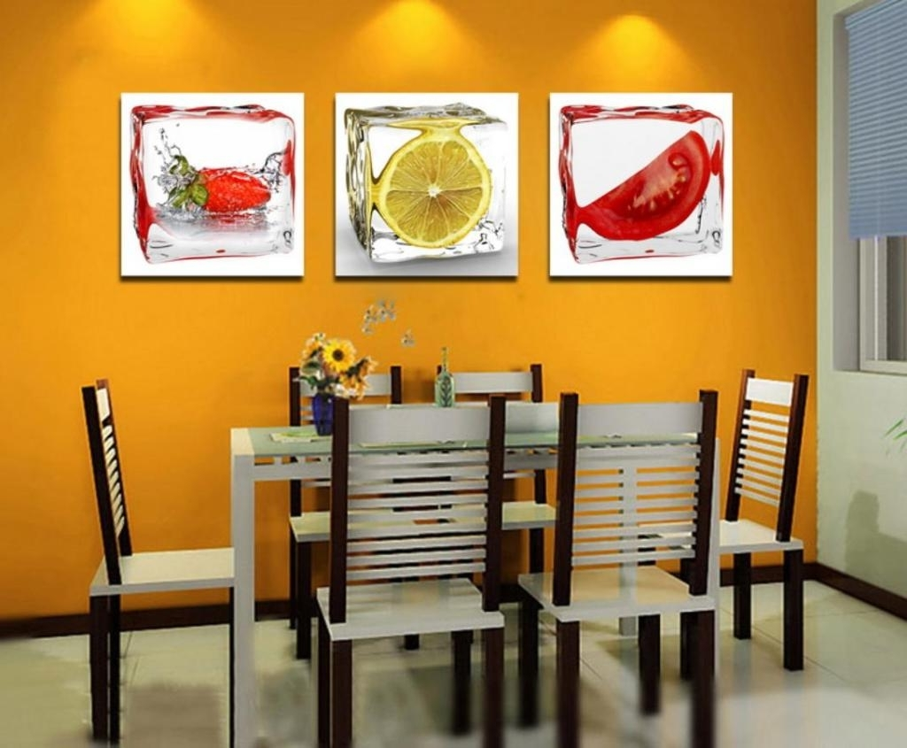 Abstract Wall Art For Dining Room In Preferred Wholesale 3 Piece Fruit Wall Art Decor Painting Home Kitchen (Gallery 12 of 15)