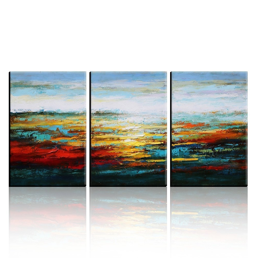 Abstract Wall Art Within 2017 Amazon: Asmork Canvas Oil Paintings – Abstract Wall Art (View 8 of 15)