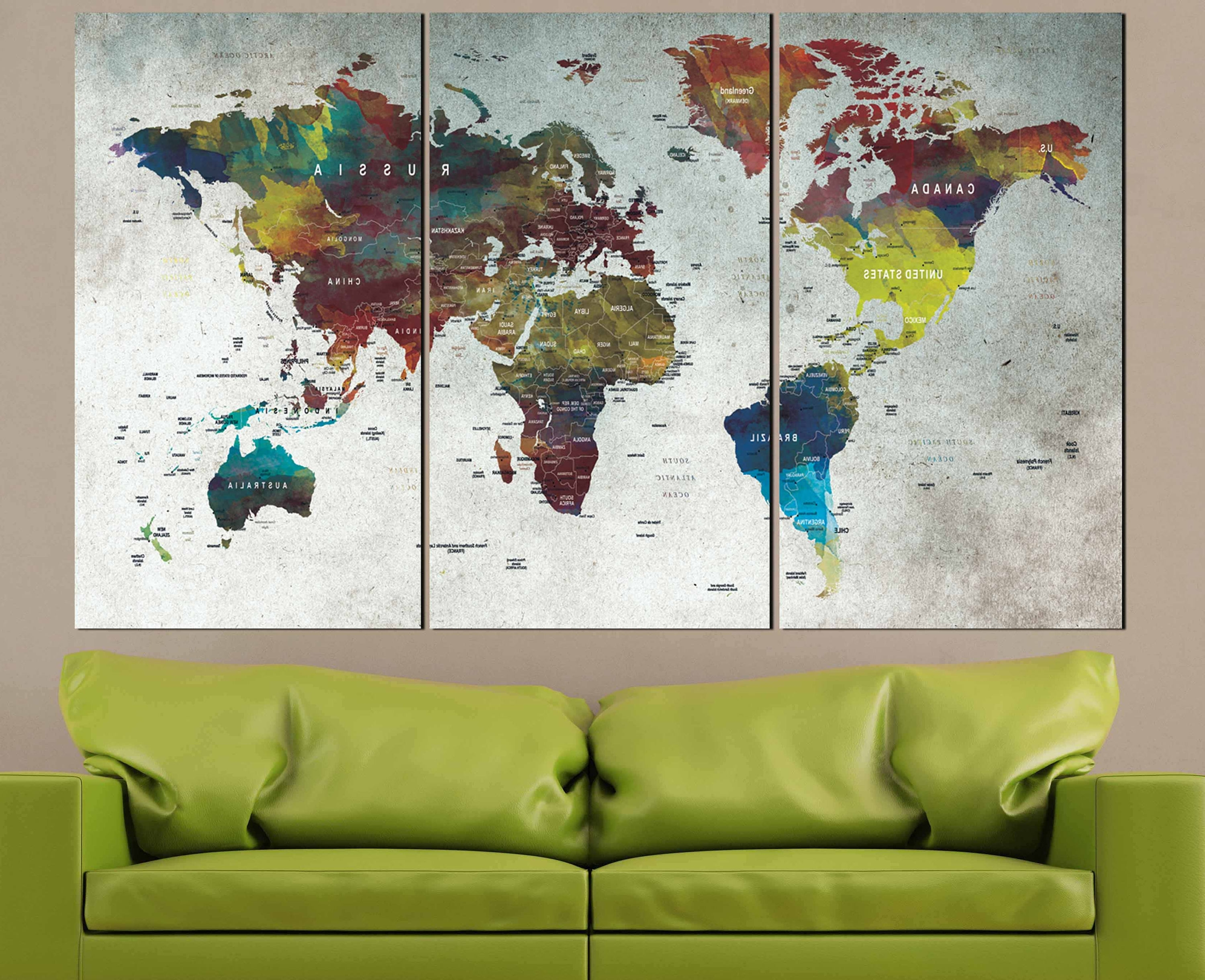 Abstract World Map Wall Art In Most Recent World Map,map,wall Art,large World Map,push Pin Map,abstract World (View 2 of 15)