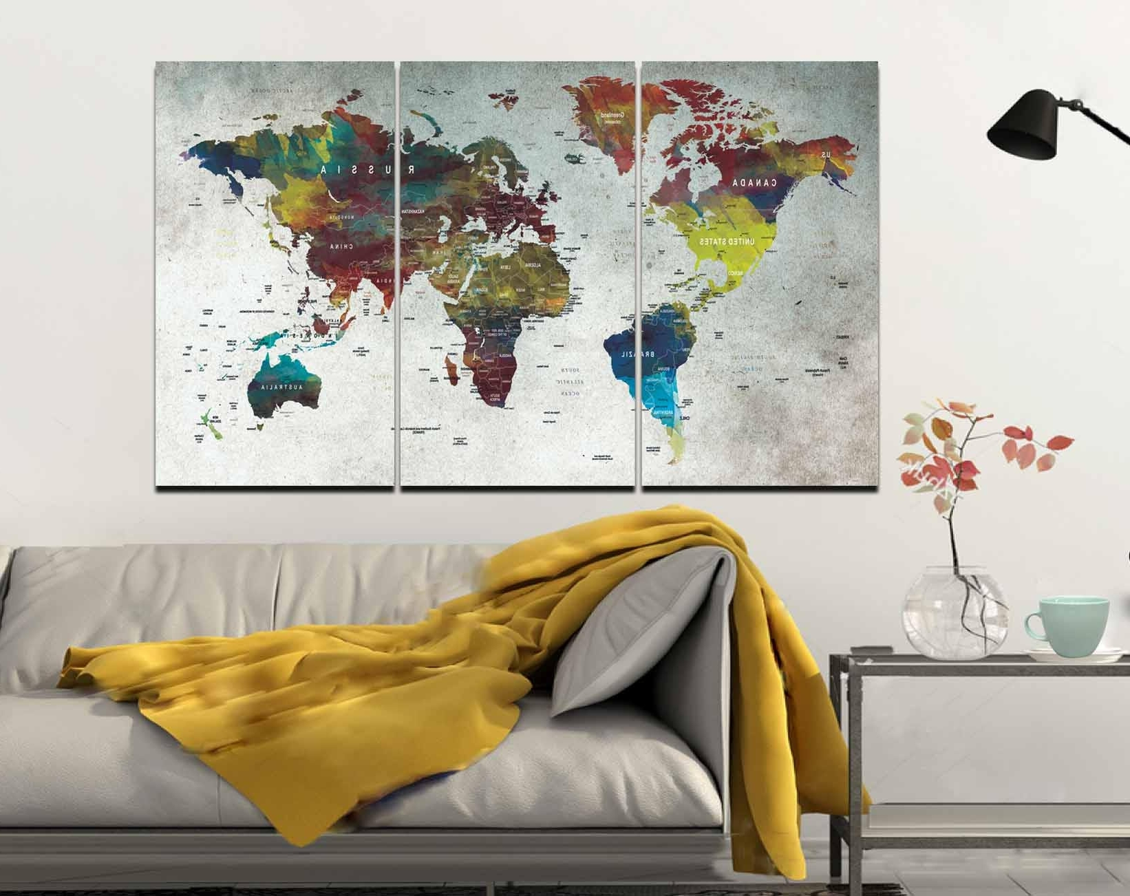 Abstract World Map Wall Art With Regard To Trendy World Map,map,wall Art,large World Map,push Pin Map,abstract World (View 3 of 15)
