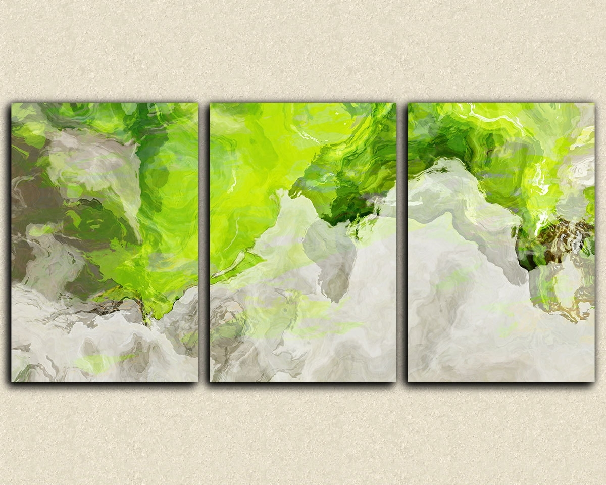 Accessories: Drop Dead Gorgeous Image Of Triple Canvas Art Lime With Newest Lime Green Abstract Wall Art (View 3 of 15)
