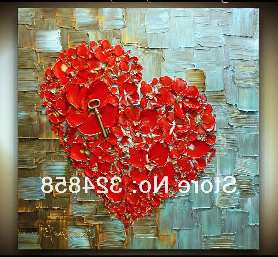 Acrylic Abstract Red Heart Cherry Blossom Modern Palette Knife Oil For Latest Abstract Heart Wall Art (View 3 of 15)