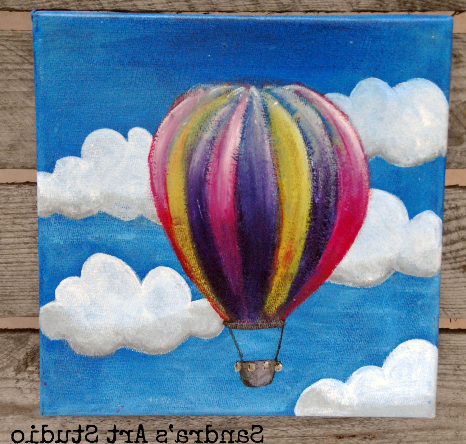 Air Balloon 3d Wall Art Within Recent New To Sandraartstudio On Etsy: Cute Painting Of A Little Hot Air (View 12 of 15)