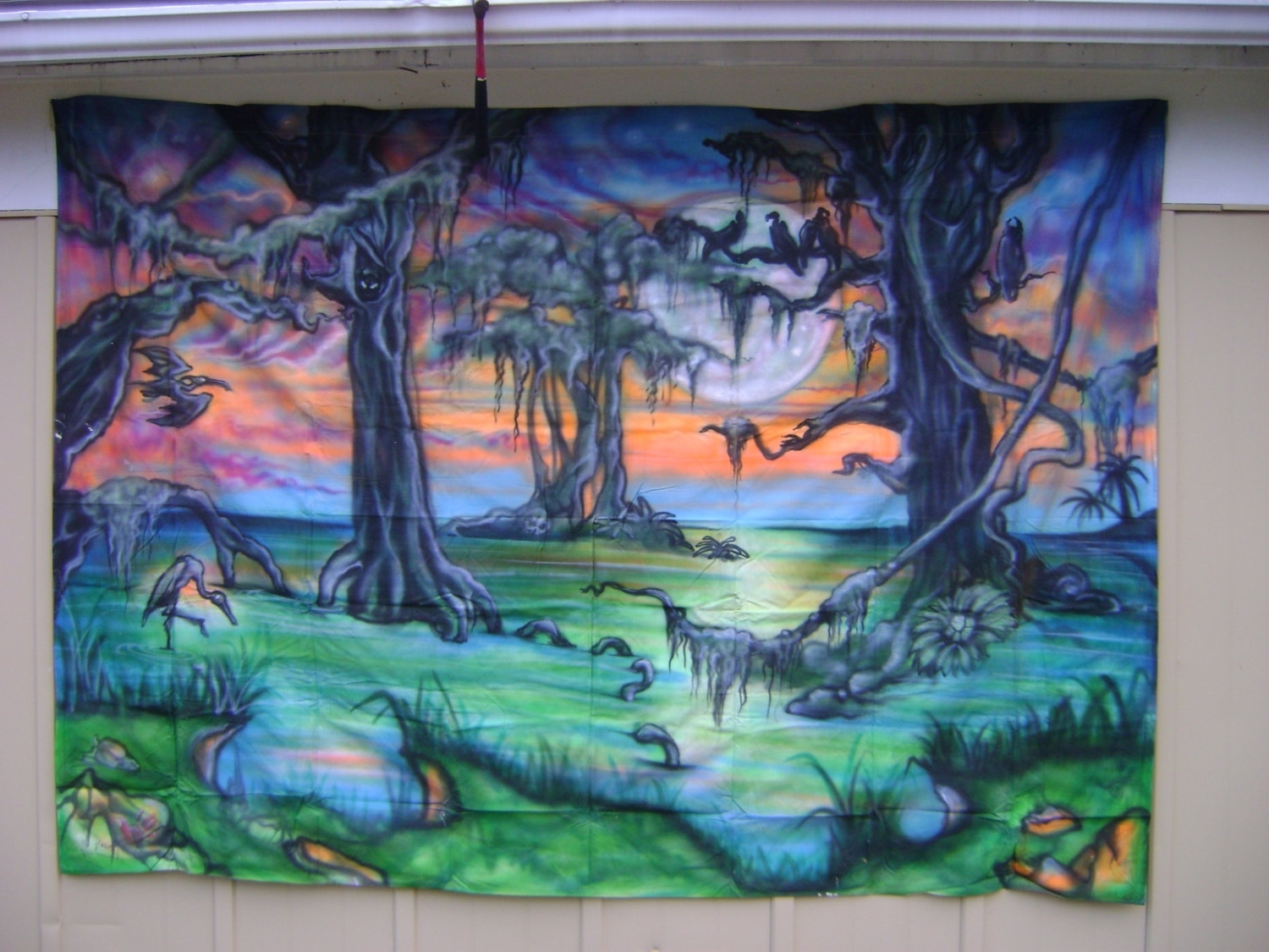 "Airbrush Wall Art Within Well Liked Murky Swamp Scene Airbrushed On Cotton""uber G"" At Uber (View 3 of 15)"