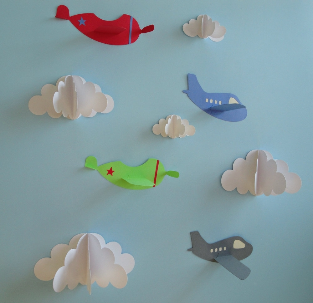 Airplane Wall Decals, Plane Wall Decals, Planes And Clouds, 3D With Regard To Most Popular 3D Clouds Out Of Paper Wall Art (View 3 of 15)
