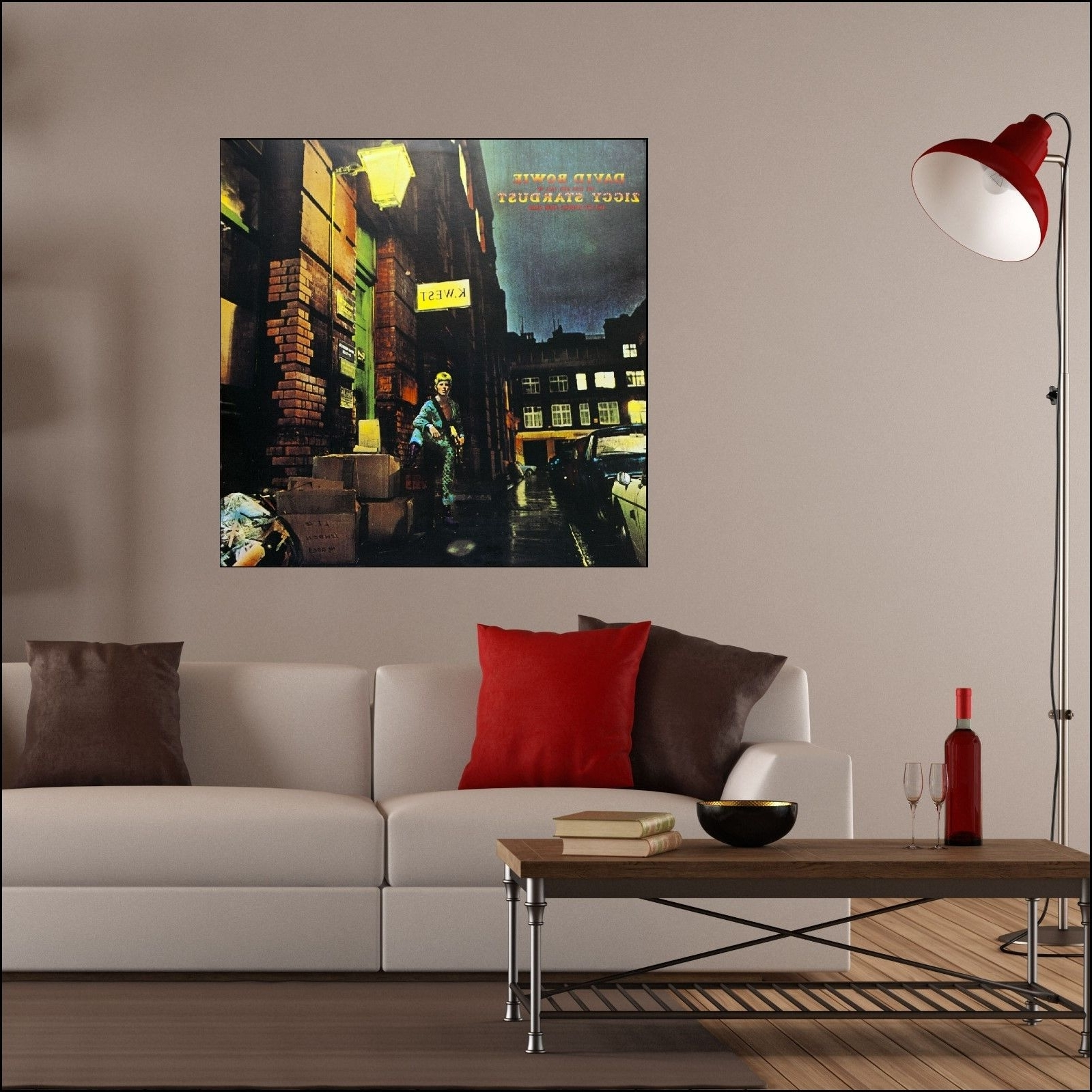 Album Cover Wall Art Within Popular David Bowie Ziggy Stardust Rise Fall Album Cover Art Wall Sticker (View 4 of 15)