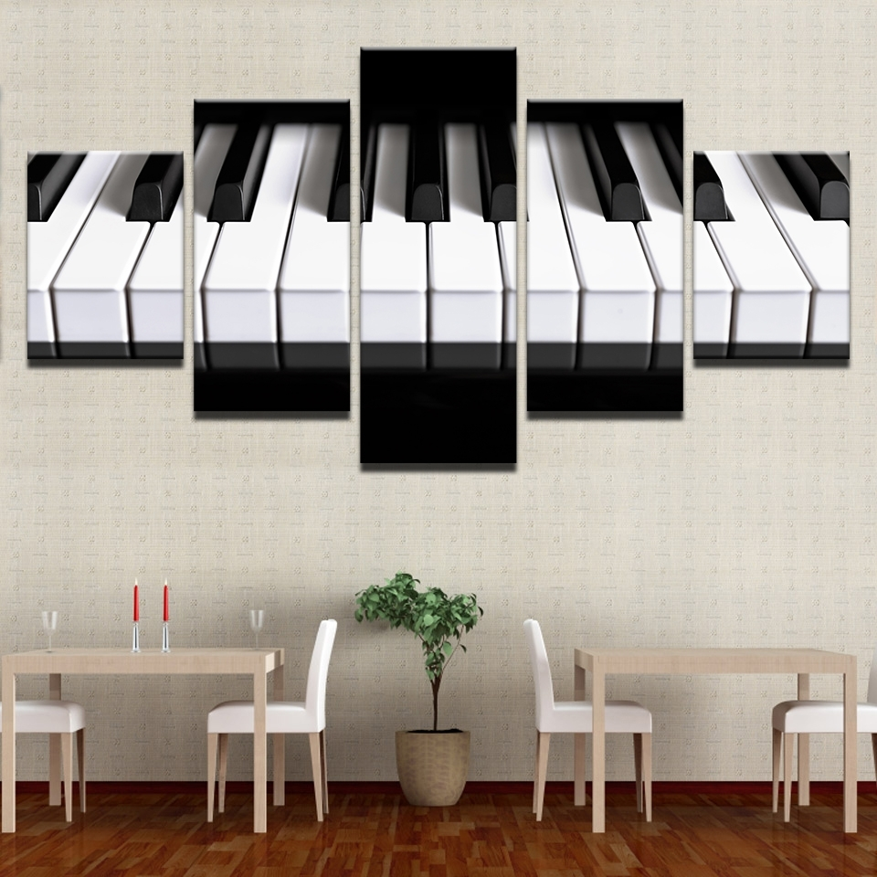 Aliexpress : Buy Framed Abstract Modern Home Decor Canvas 5 Intended For Preferred Abstract Piano Wall Art (View 7 of 15)