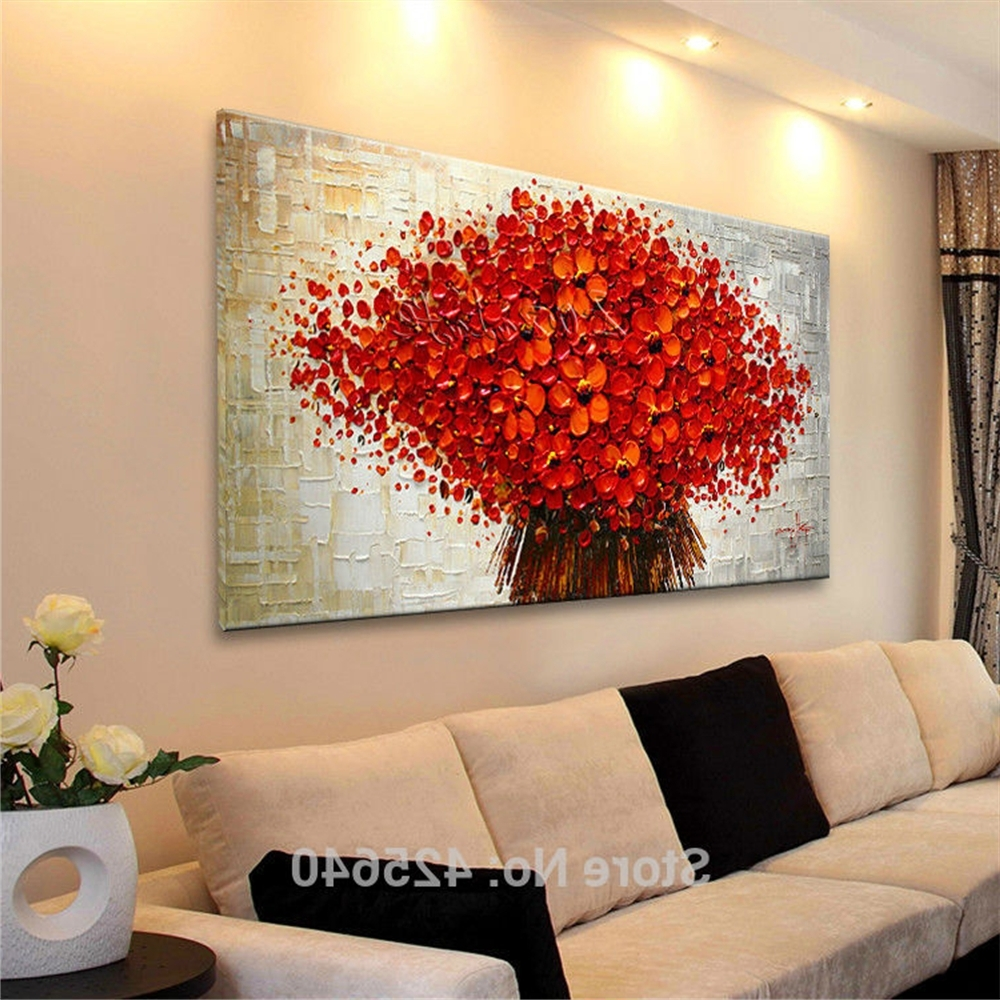 Aliexpress : Buy Wall Painting Flower Hand Painted Palette Regarding Favorite Abstract Wall Art 3D (View 6 of 15)