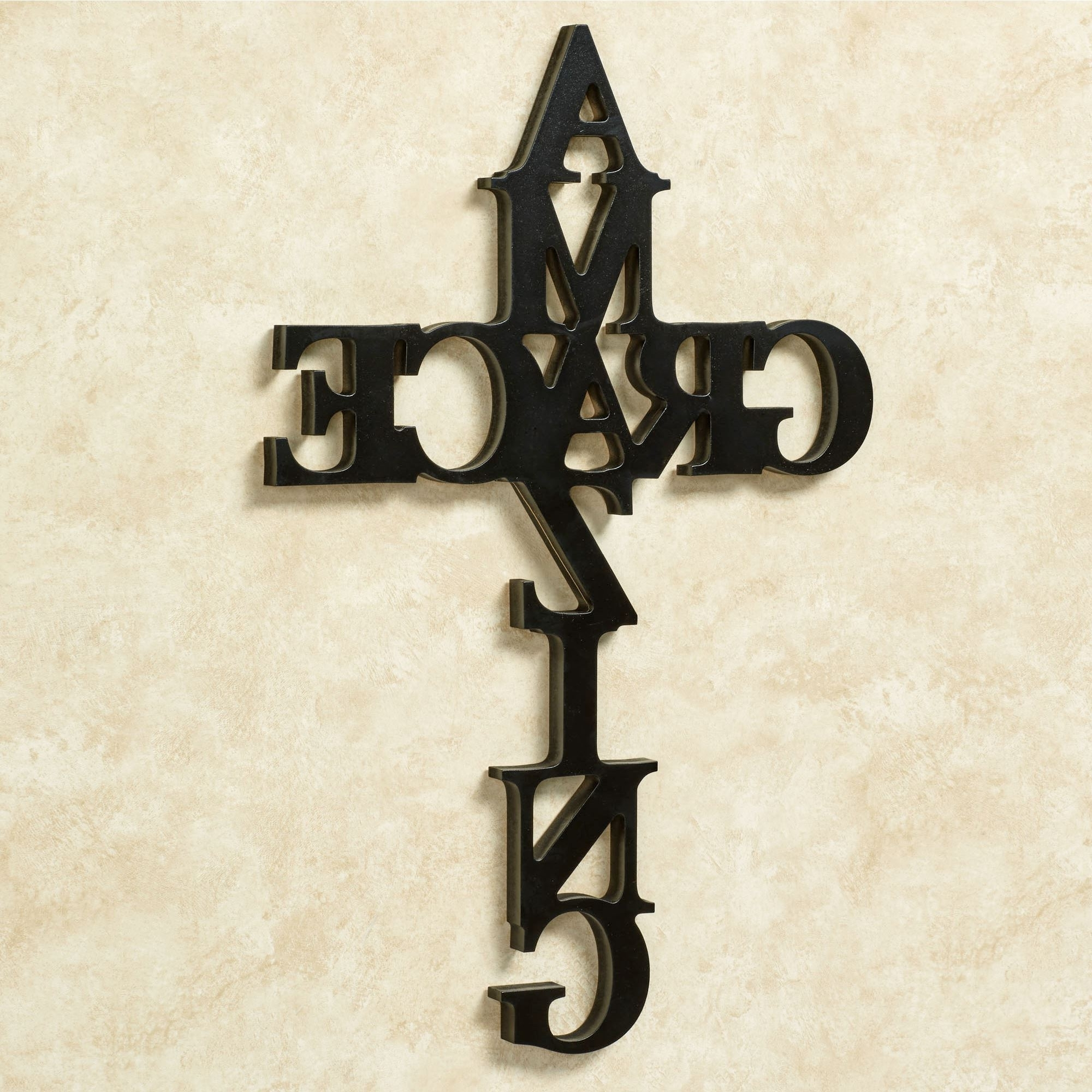 Amazing Grace Word Cross Wall Art Intended For Popular Grace Wall Art (View 2 of 15)