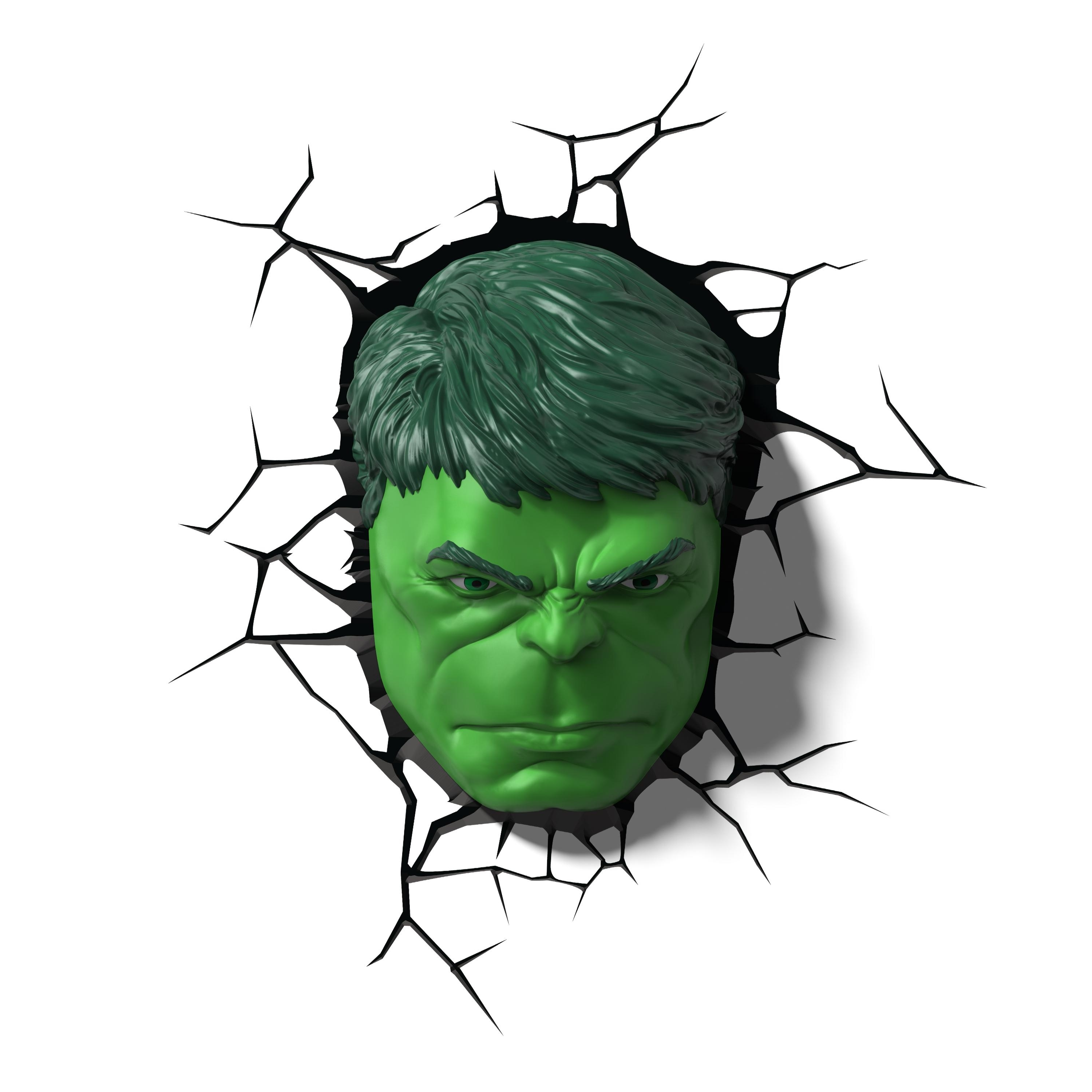 Amazon: 3Dlightfx Marvel Avengers Hulk Face 3D Deco Light With Current Hulk Hand 3D Wall Art (View 2 of 15)