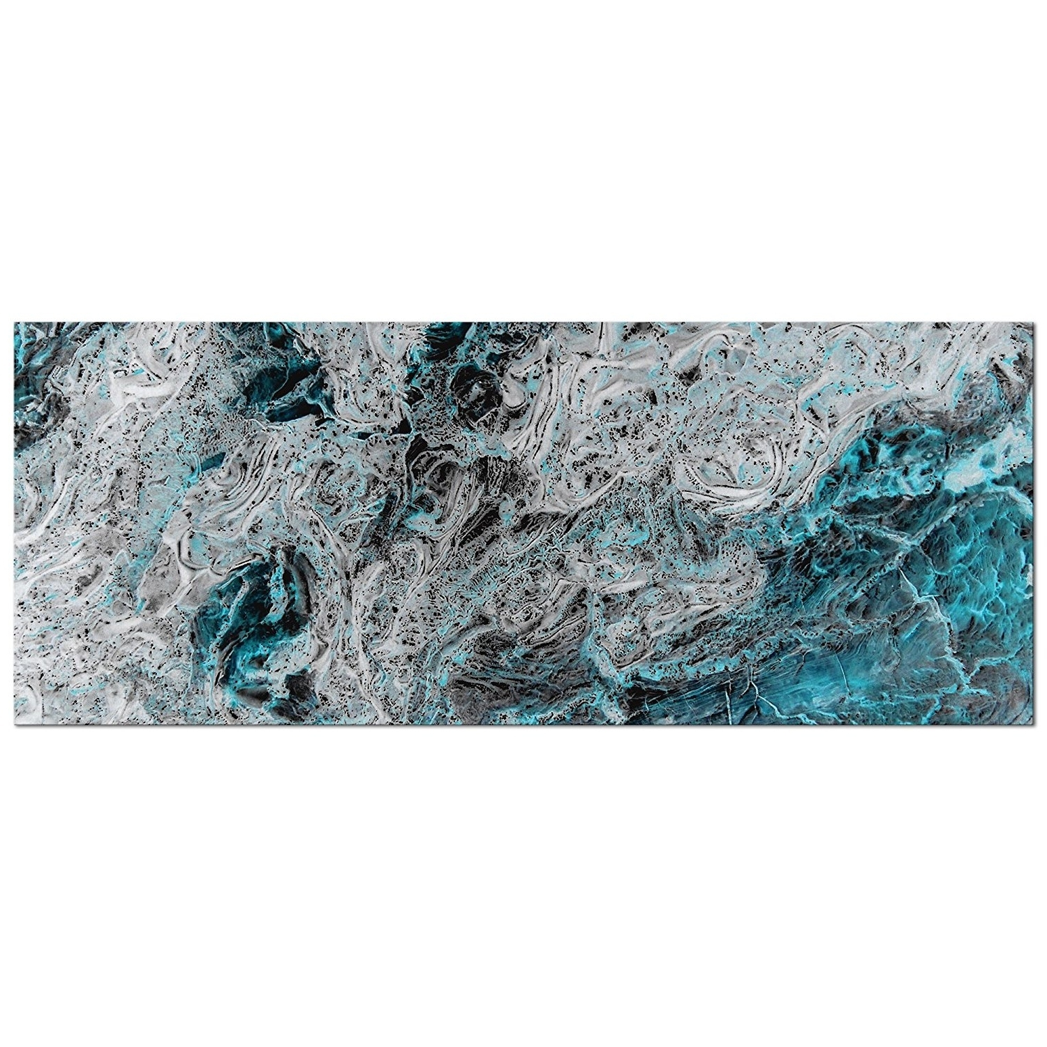 Amazon: Abstract Teal Wall Art 'storm Turquoise' – Cool Tones Within Current Turquoise Metal Wall Art (View 11 of 15)