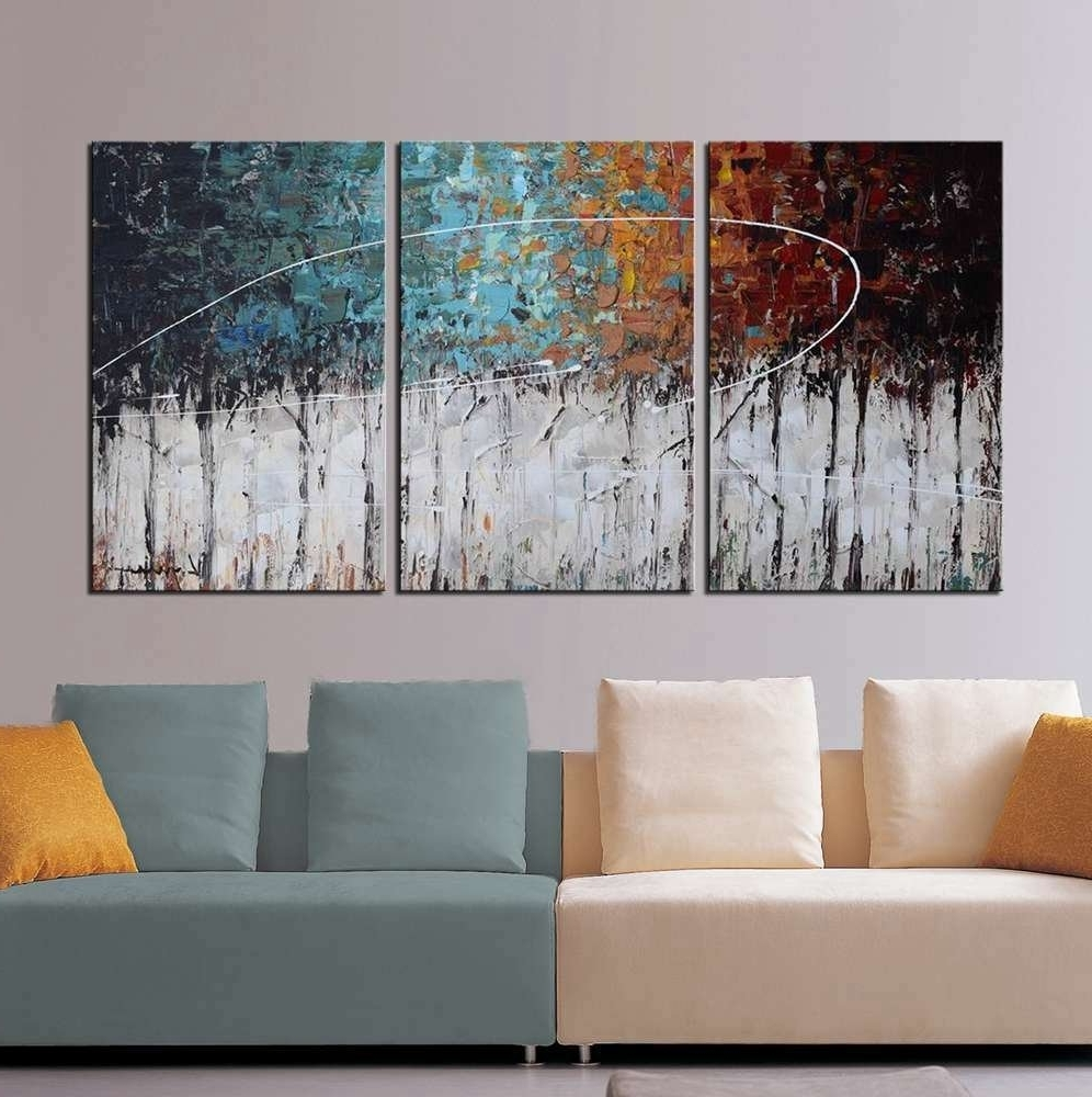 "Amazon: Artland Hand Painted ""color Forest"" 3 Piece Gallery With Fashionable Abstract Canvas Wall Art Iii (Gallery 5 of 15)"