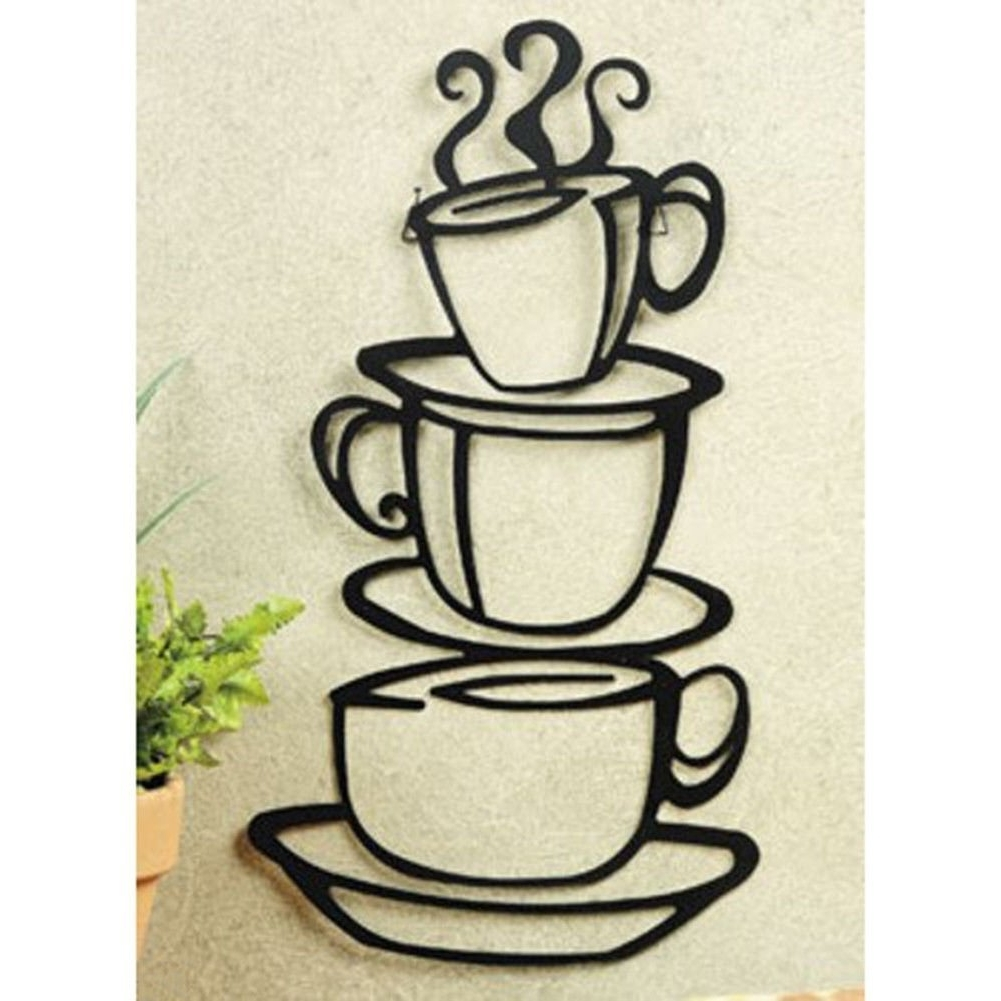 Amazon: Black Coffee Cup Silhouette Metal Wall Art For Home Regarding Fashionable Cafe Latte Kitchen Wall Art (View 1 of 15)