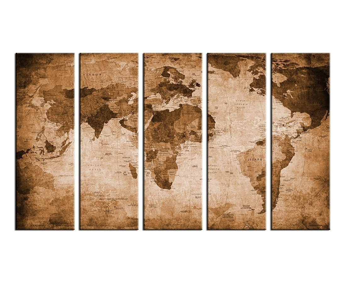Amazon: Canvas Wall Art Vintage World Map Canvas Prints Framed Pertaining To Most Popular Large Vintage Wall Art (View 8 of 15)