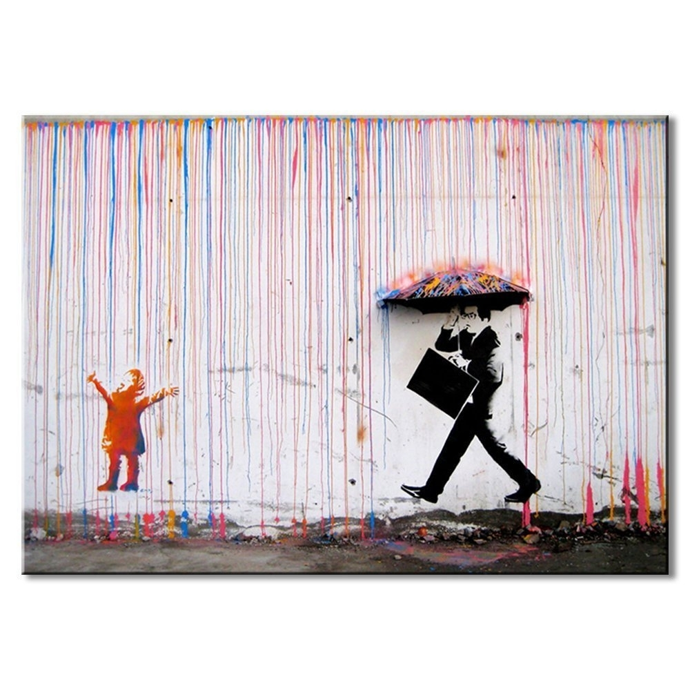 Amazon: Dvq Art Banksy Art Colorful Rain Prints Paintings In Recent Banksy Canvas Wall Art (View 2 of 15)