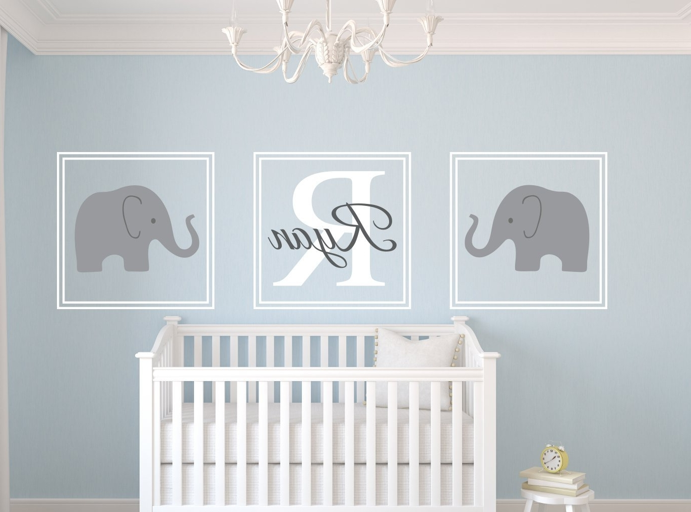 Amazon: Elephant Name Wall Decal Set Nursery Wall Decor: Home For Best And Newest Elephant Wall Art For Nursery (View 3 of 15)
