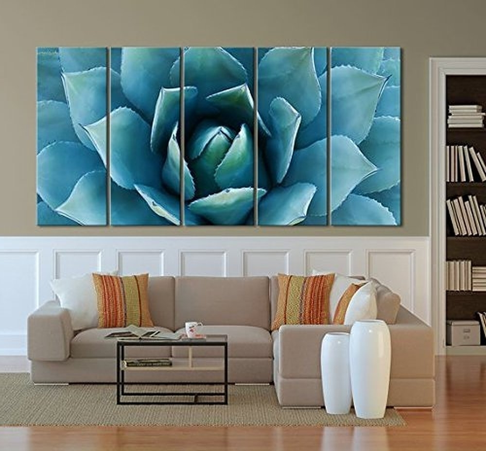 Amazon: Ezon Ch Large Wall Art Blue Agave Canvas Prints Agave Inside Best And Newest Very Large Wall Art (View 4 of 15)