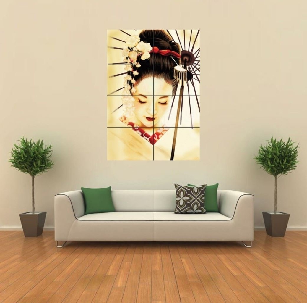 Amazon: Geisha Japanese New Giant Wall Art Print Poster G347 For Recent Geisha Canvas Wall Art (View 1 of 15)