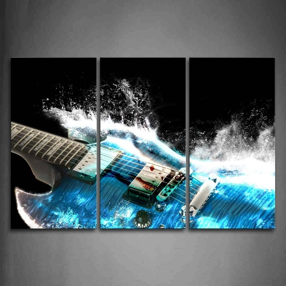 Amazon: Guitar In Blue And Waves Looks Beautiful Wall Art Intended For Most Recently Released Guitar Canvas Wall Art (View 2 of 15)