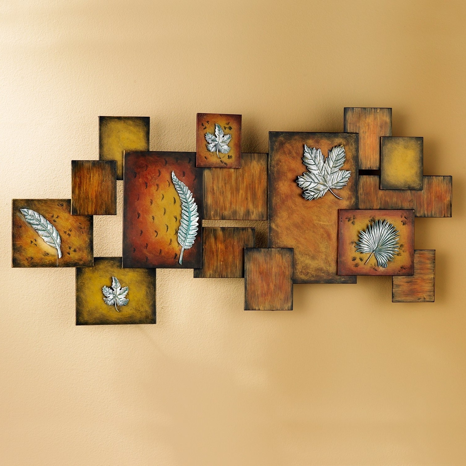 Amazon: Metal Leaves / Abstract Wall Art Panel: Home & Kitchen In Most Recent Abstract Leaf Metal Wall Art (View 8 of 15)