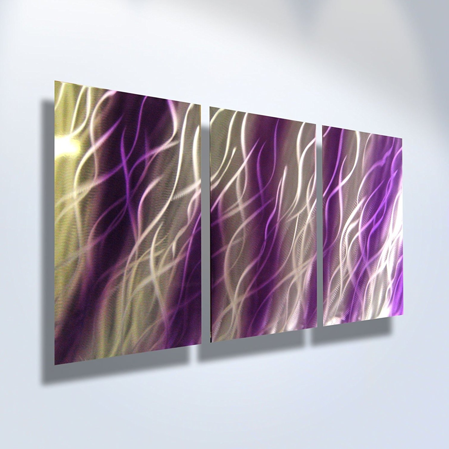Amazon: Metal Wall Art, Modern Home Decor, Abstract Artwork Pertaining To Most Recent Purple Wall Art (View 1 of 15)