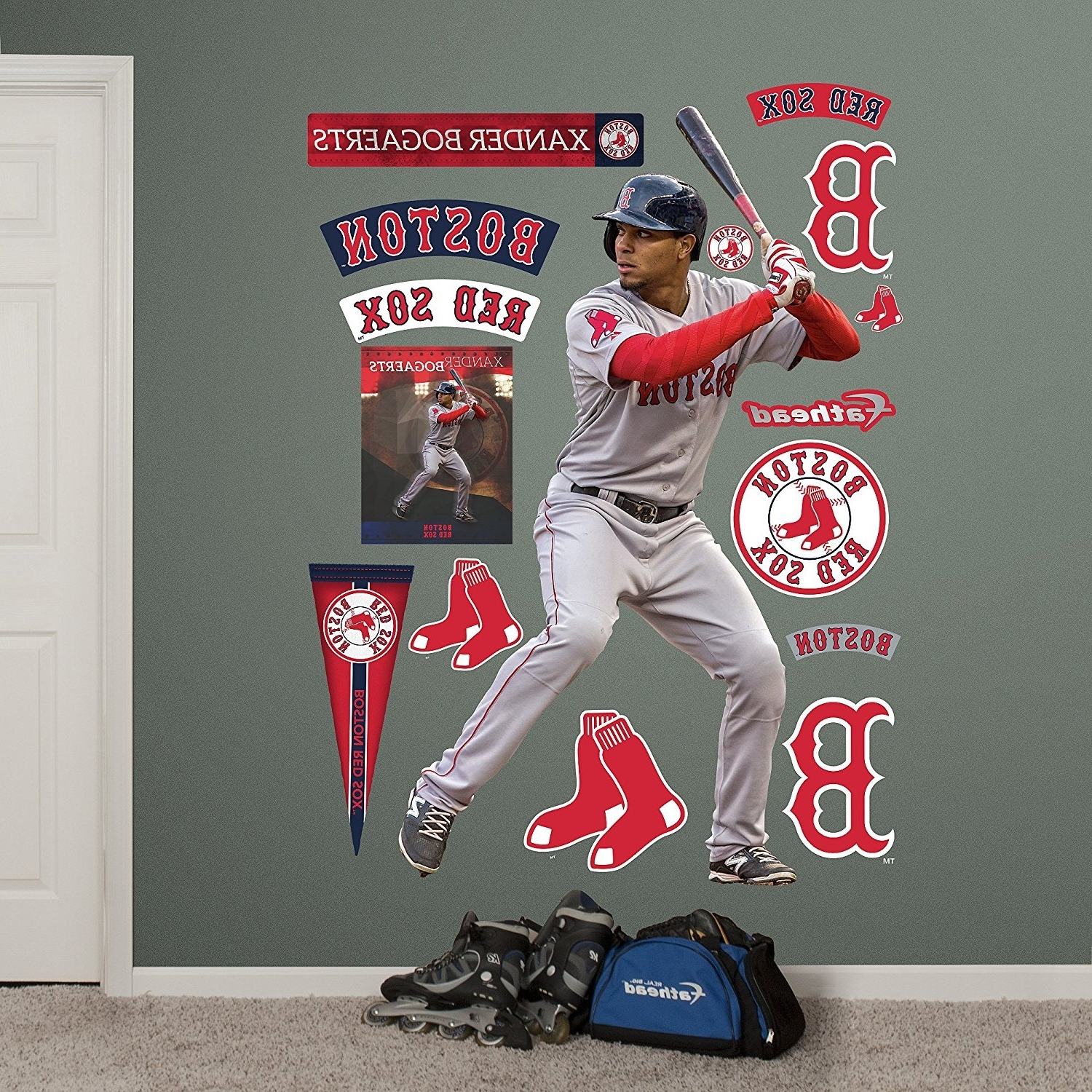 Amazon : Mlb Boston Red Sox Xander Bogaerts Fathead Wall Decal Regarding Preferred Red Sox Wall Decals (View 3 of 15)