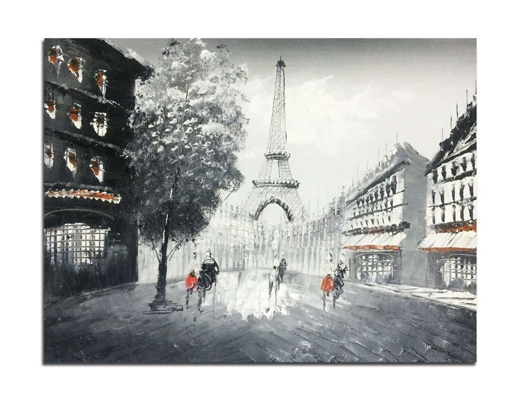Amazon: Muzagroo Art Oil Paintings Hand Painted Paris Eiffel Regarding Well Known Eiffel Tower Wall Hanging Art (View 1 of 15)