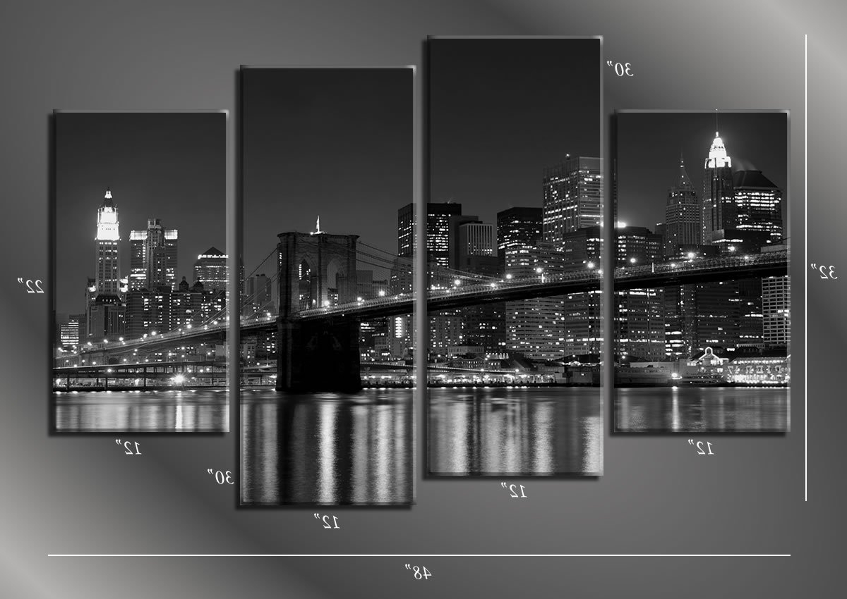 Amazon: Picture Sensations Framed Huge 4 Panel Cityscape New In Most Recent New York Skyline Canvas Black And White Wall Art (View 6 of 15)
