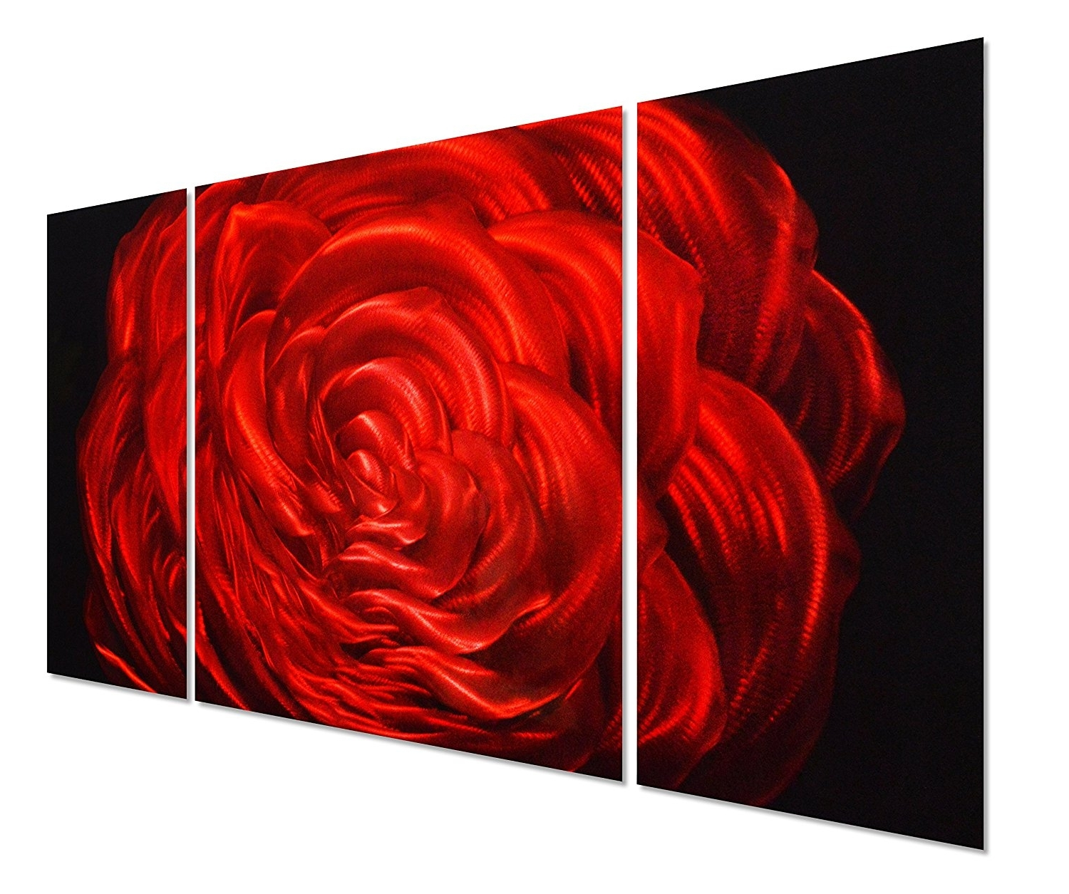 "Amazon: Red Rose Flower Metal Wall Art Decor – 50""x24 Inside Well Known Red Rose Wall Art (View 2 of 15)"