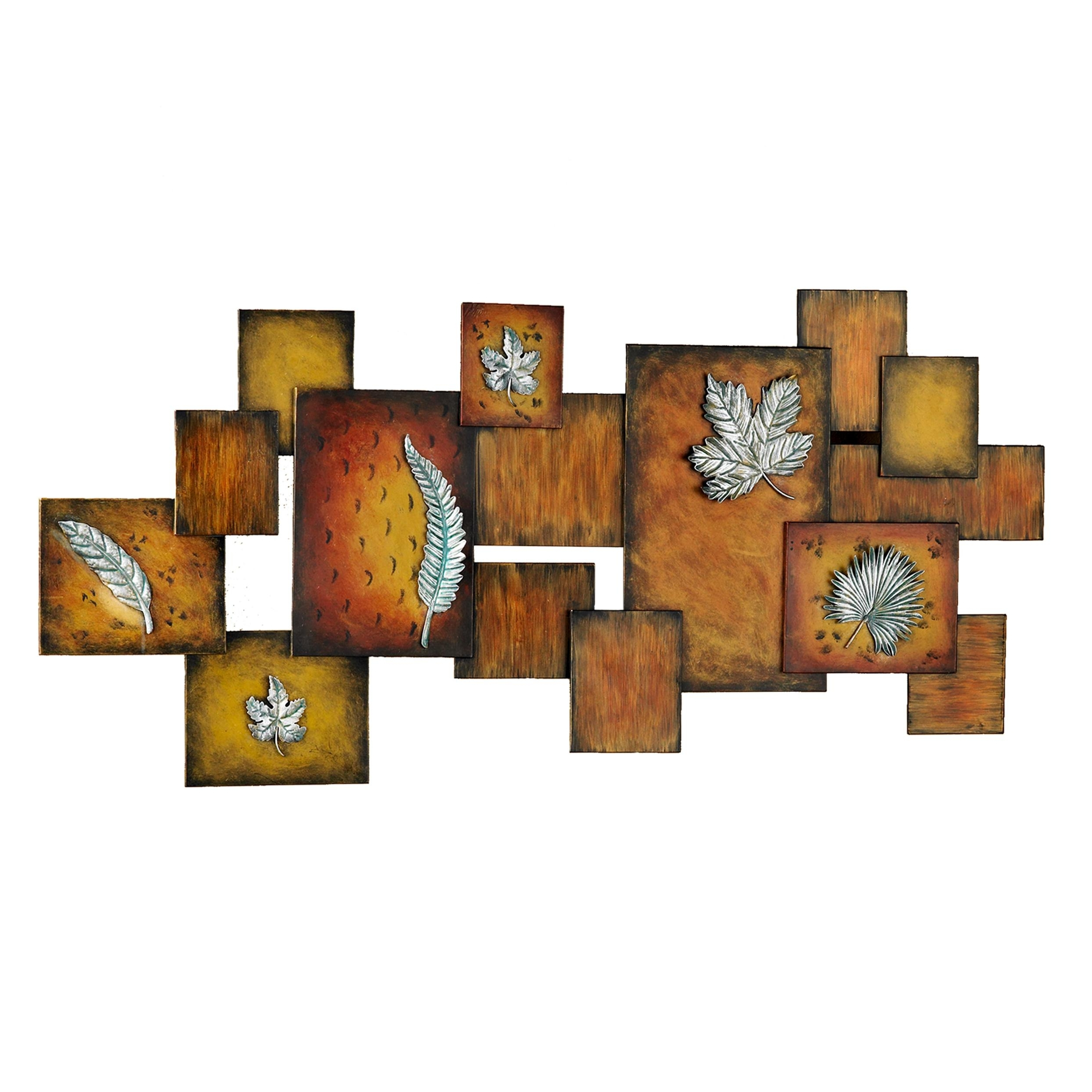 Amazon: Southern Enterprises Faux Fossil Leaves Abstract Wall Pertaining To Newest Horizontal Metal Wall Art (View 5 of 15)
