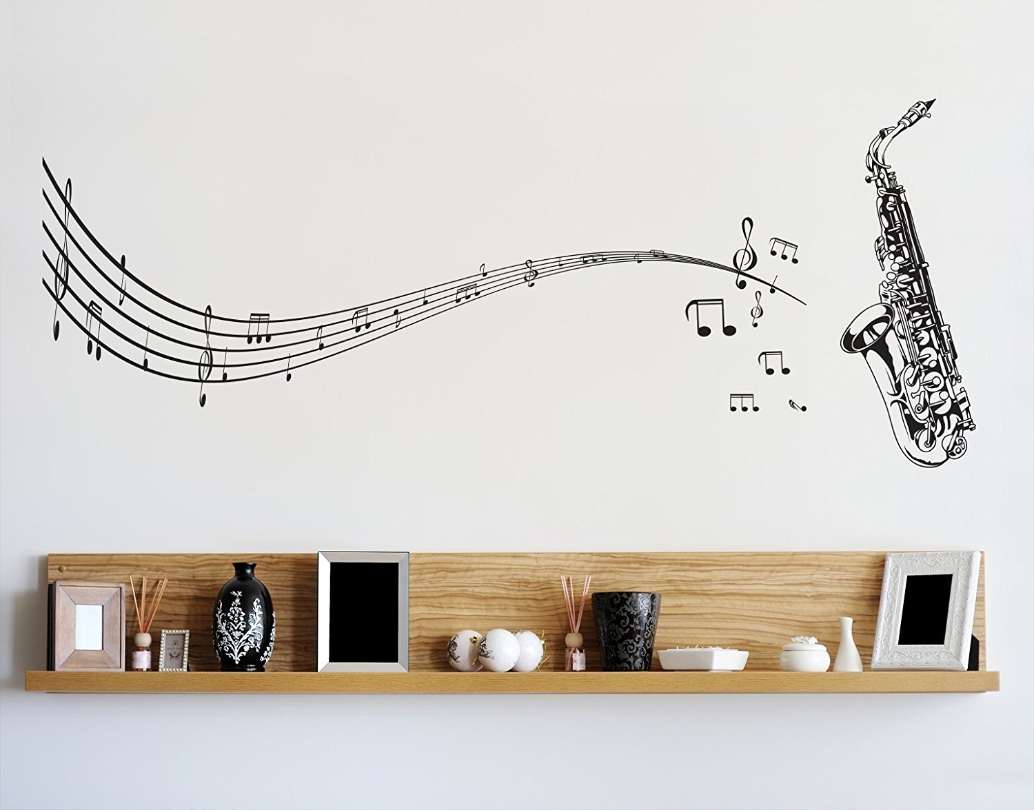 Amazon: Stickerbrand Music Vinyl Wall Art Saxophone With Music Throughout Well Liked Music Note Wall Art (View 1 of 15)
