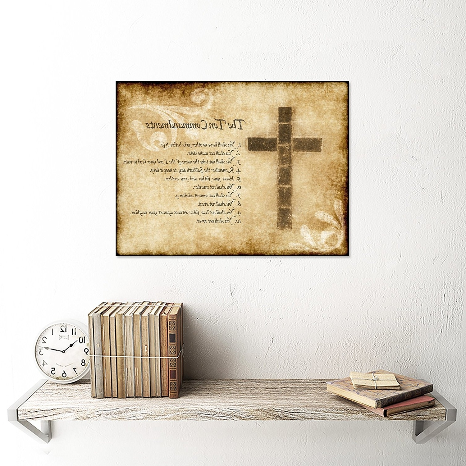 Amazon: Ten 10 Commandments Cross Christian Religious Quote In Most Current 10 Commandments Wall Art (View 4 of 15)