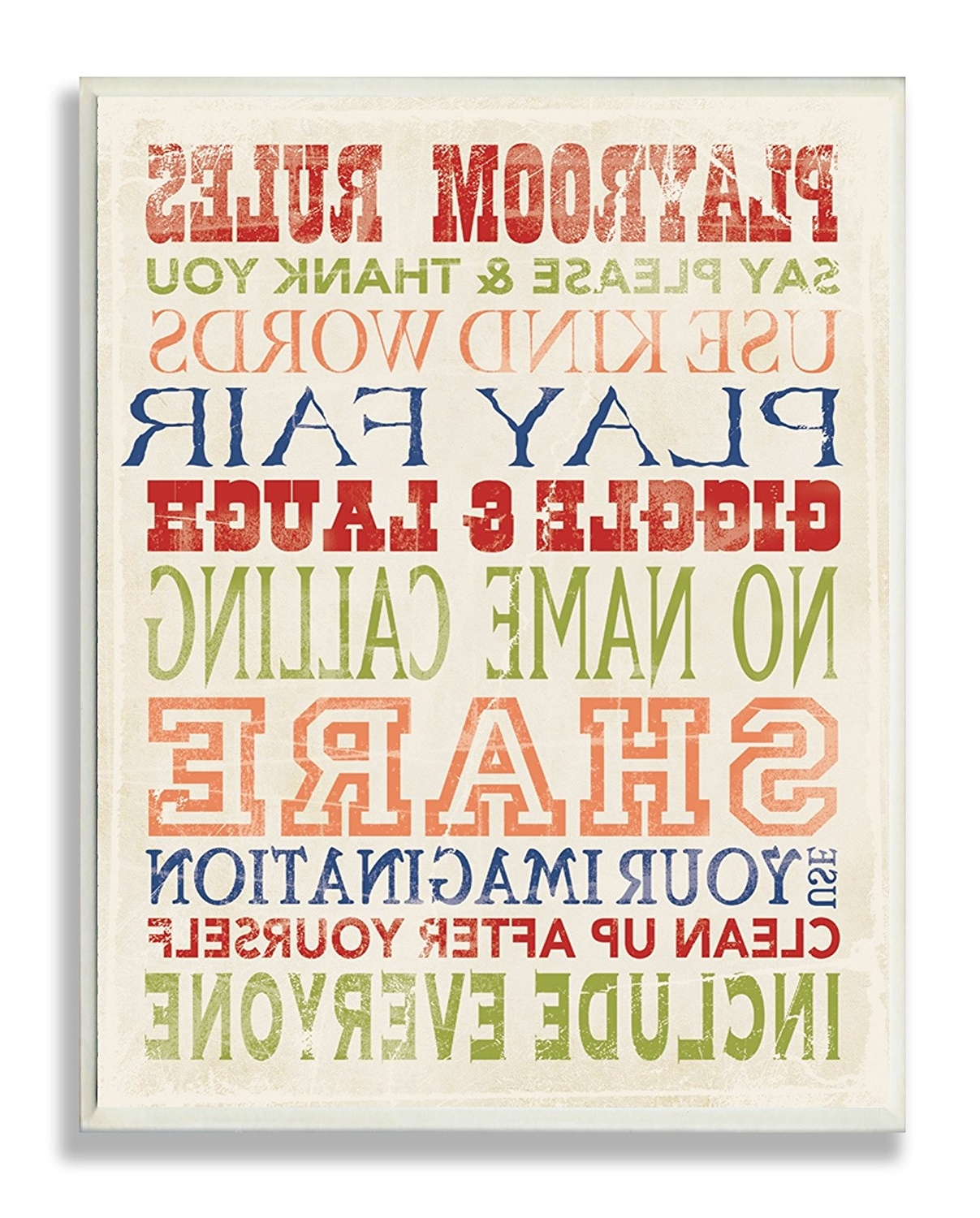 Amazon: The Kids Roomstupell Playroom Rules In Four Colors Inside Most Recent Playroom Rules Wall Art (View 3 of 15)