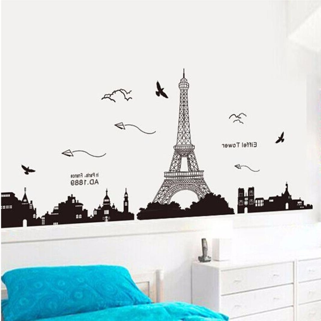 Amazon: Ussore Eiffel Tower Removable Decor Environmentally With Regard To 2018 Eiffel Tower Wall Hanging Art (View 2 of 15)