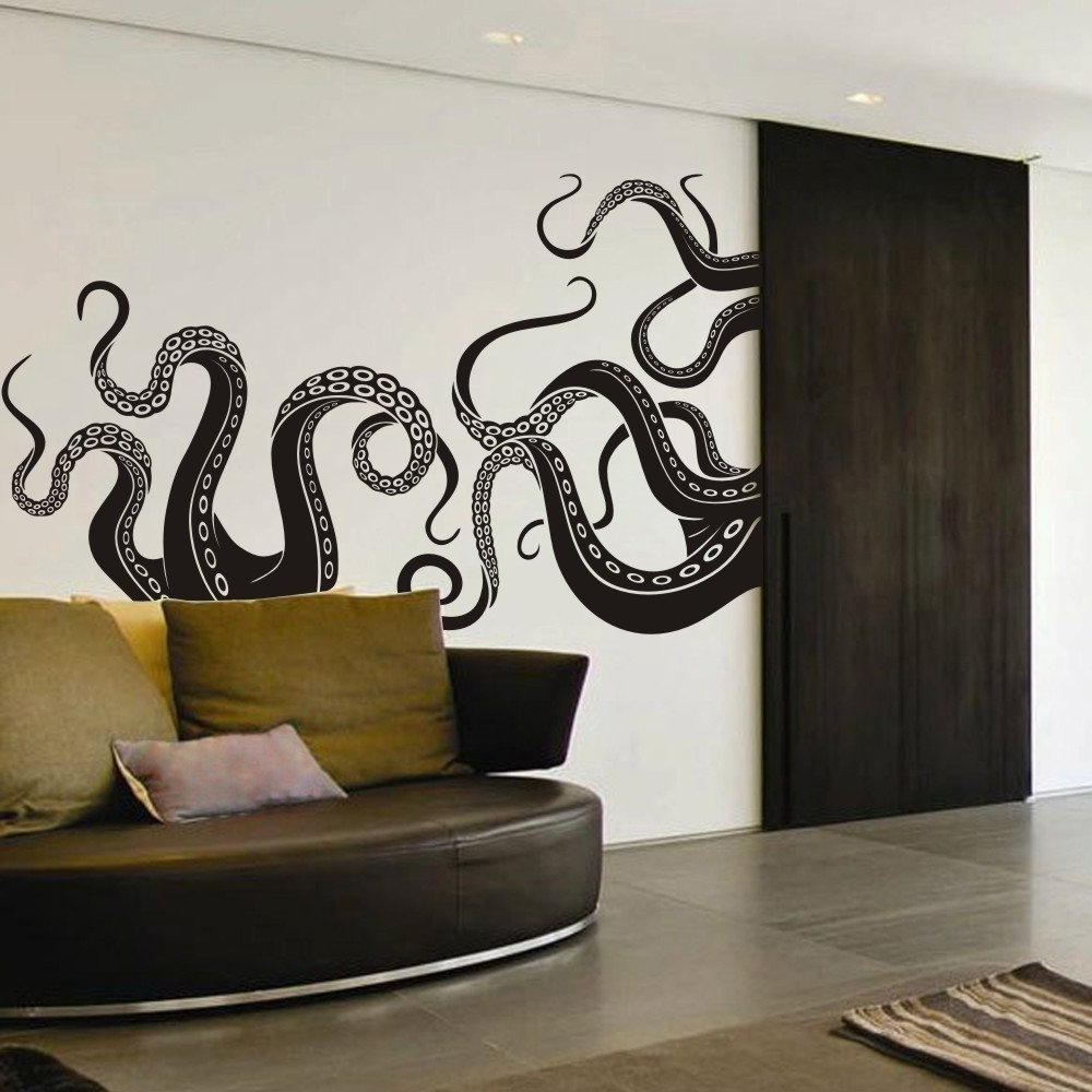 Amazon: Vinyl Kraken Wall Decal Octopus Tentacles Wall Sticker Inside Favorite Octopus Tentacle Wall Art (View 2 of 15)