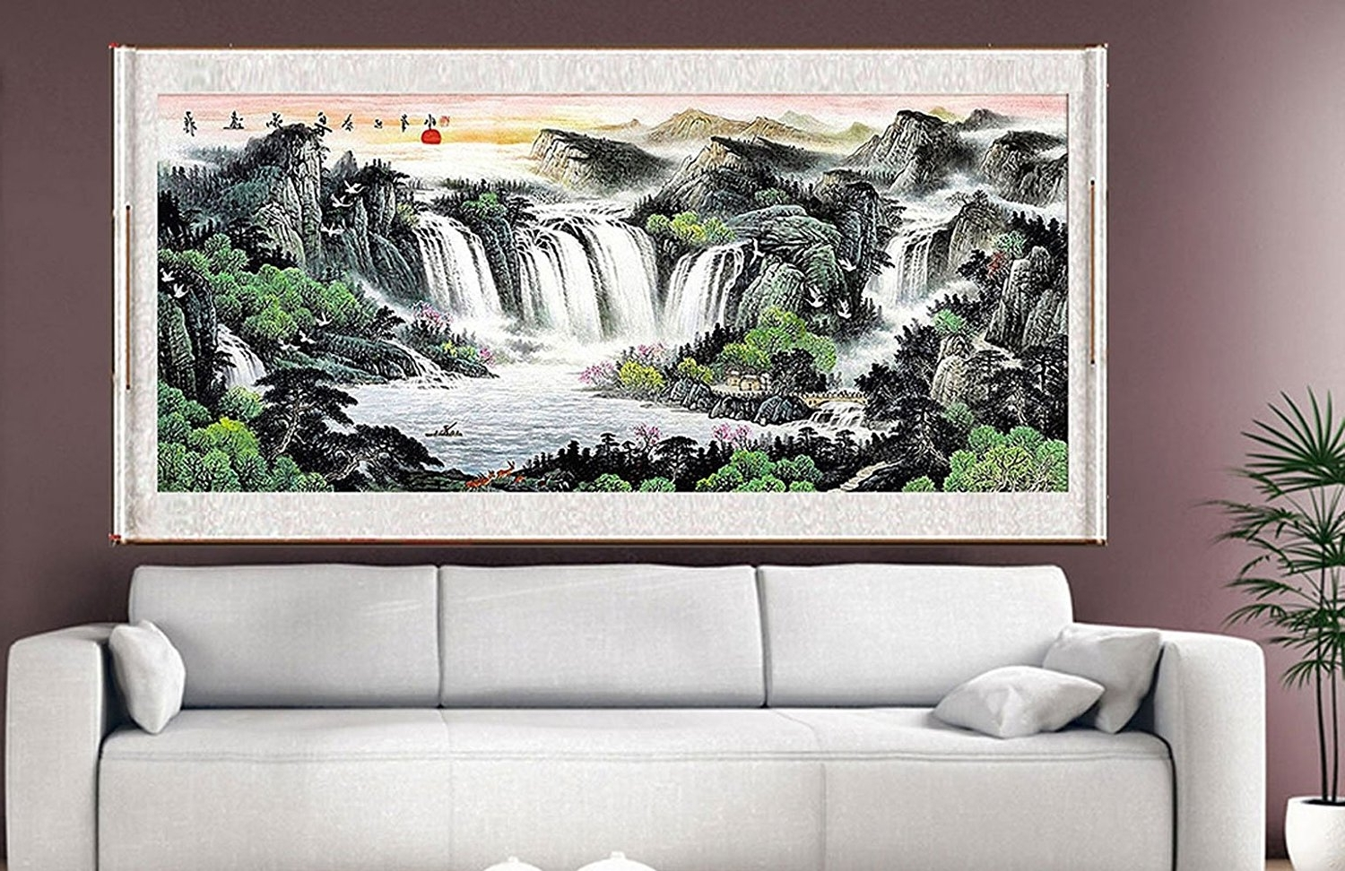 Amazon: Waterfall Painting, Feng Shui Fountain Water Asian With Regard To Latest Feng Shui Wall Art (View 1 of 15)