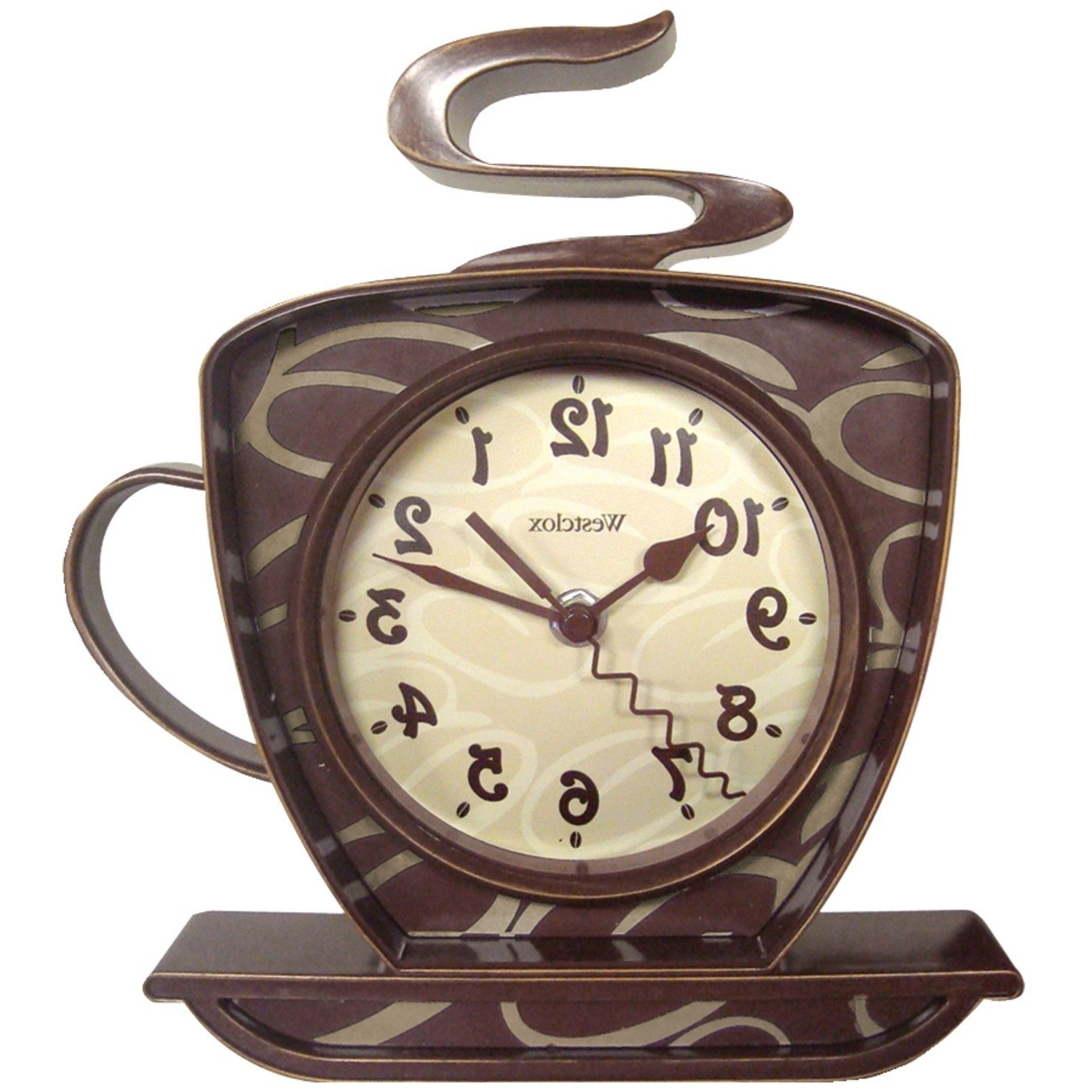 Amazon: Westclox 32038 Coffee Time 3 D Wall Clock: Kitchen Inside Trendy Metal Wall Art Coffee Theme (View 7 of 15)