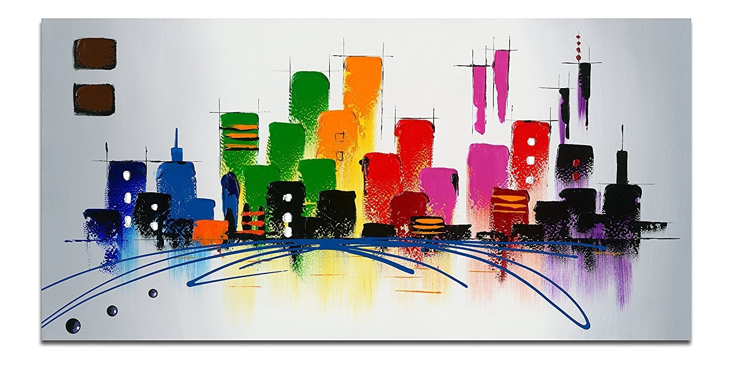 Amazon: Wieco Art – Cityscape Extra Large Colorful City 100 Throughout 2018 Cityscape Canvas Wall Art (View 2 of 15)