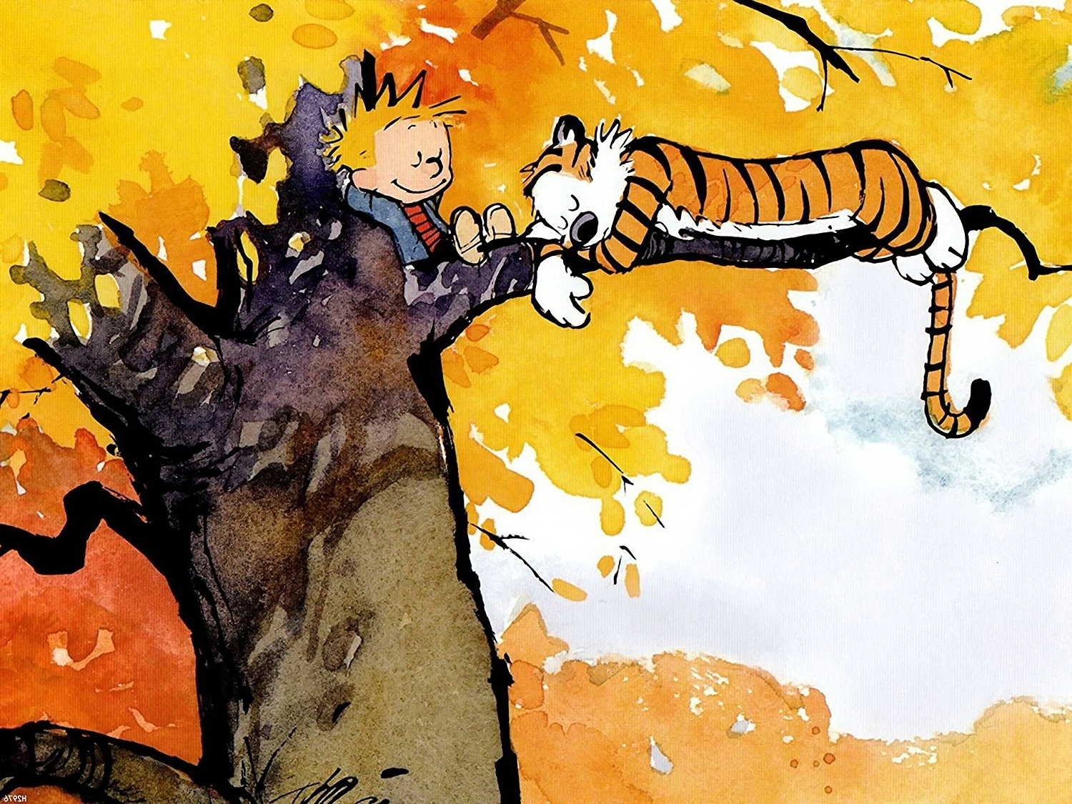 Amazon: Xh2976 Calvin And Hobbes On The Tree Huge Giant Wall For Widely Used Calvin And Hobbes Wall Art (View 5 of 15)