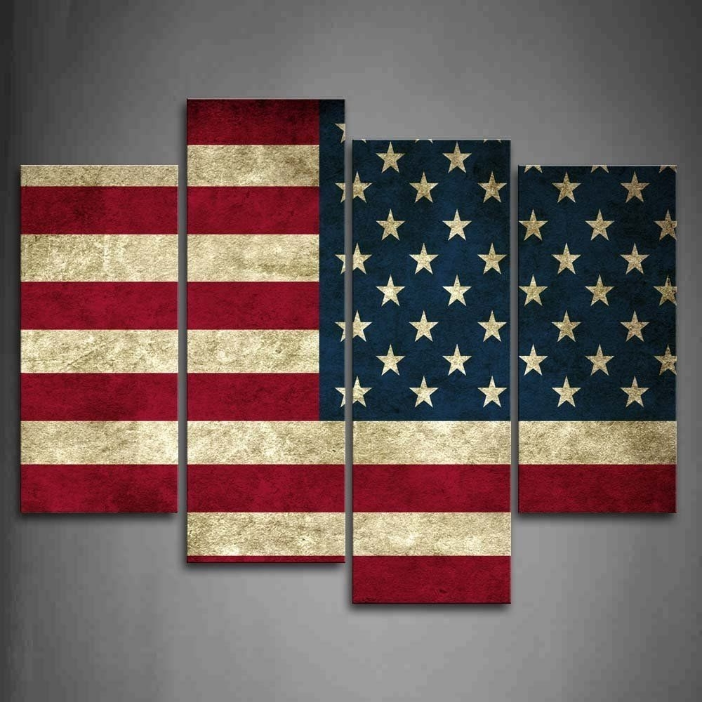 American Flag In Red White And Blue Wall Art Painting Pictures In Trendy Red White And Blue Wall Art (View 1 of 15)