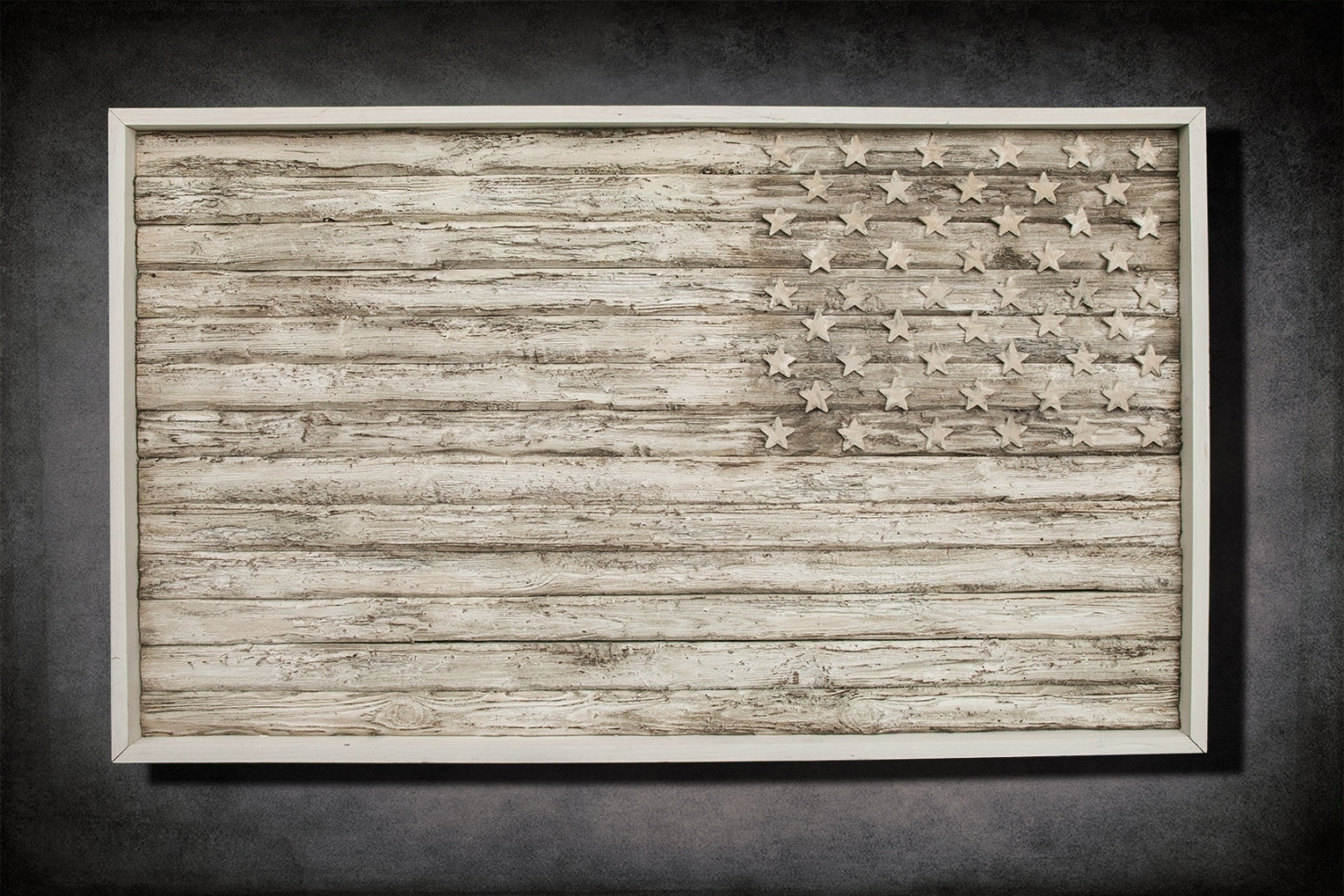 American Flag, Weathered Wood, One Of A Kind, 3D, Wooden, Vintage Within Well Known White Wooden Wall Art (View 7 of 15)