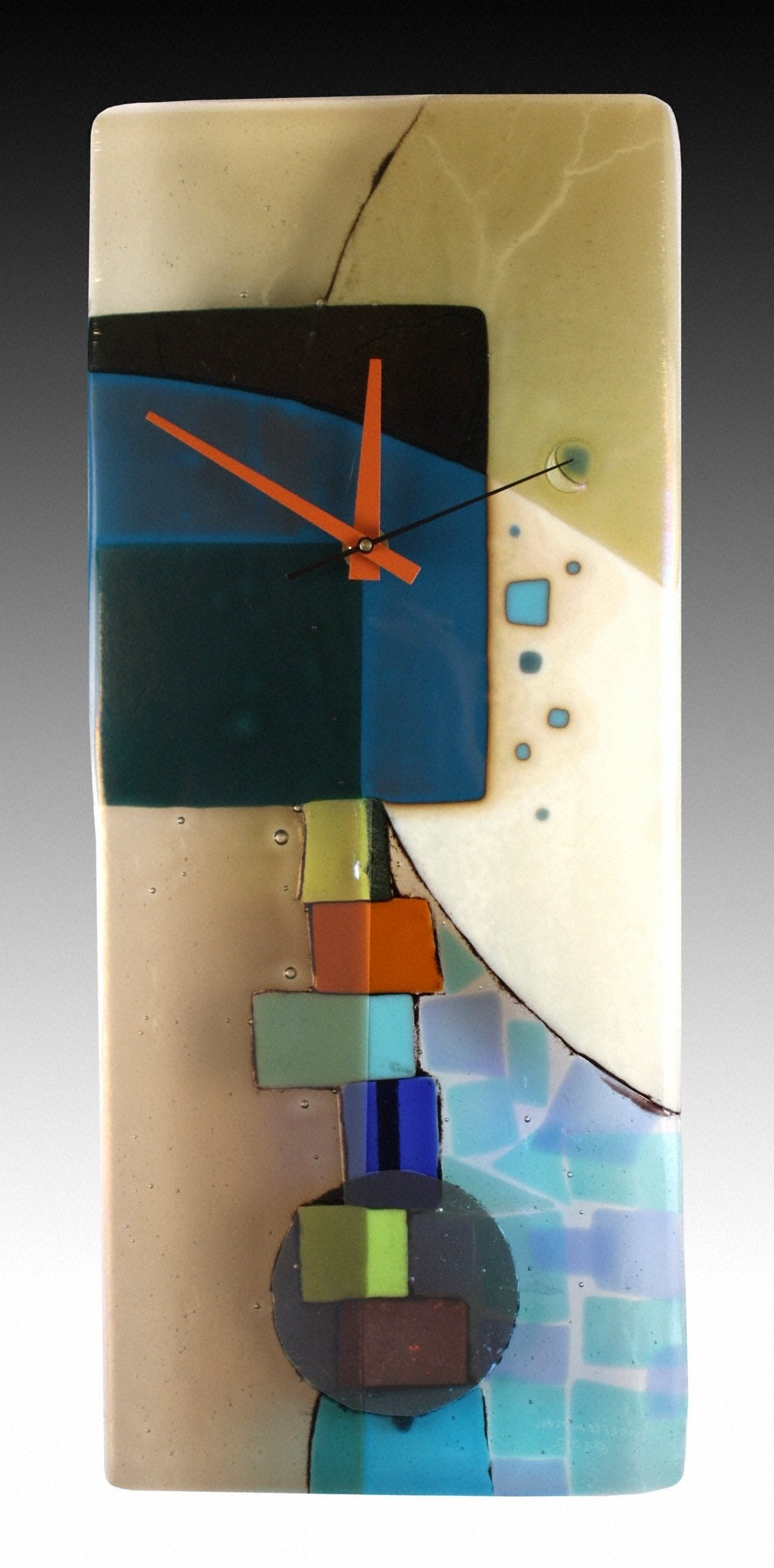 Andrea Fused Glass Pendulum Clocknina Cambron (Art Glass Clock Pertaining To Widely Used Fused Glass Wall Art For Sale (View 2 of 15)