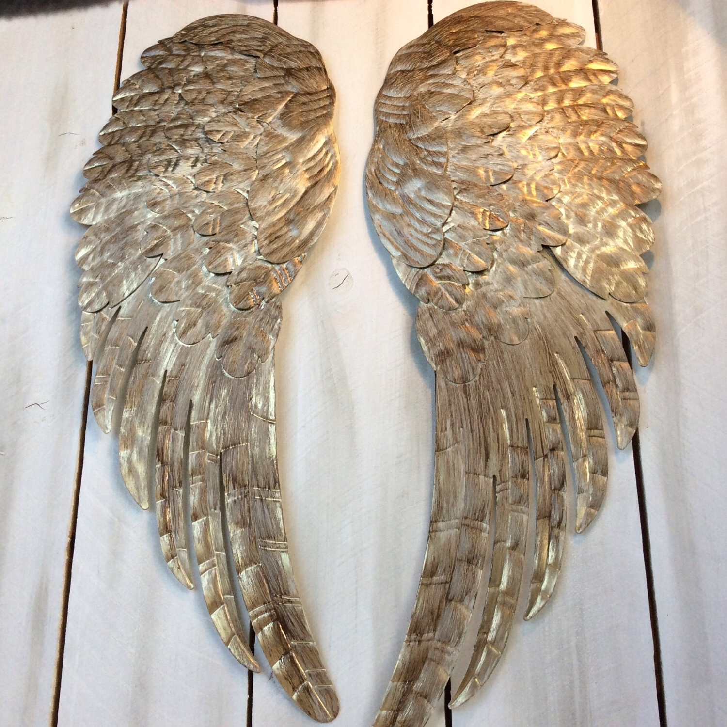 Angel Wings Wall Art Intended For Most Current Large Metal Angel Wings Wall Decor, Distressed Gold, Ivory (View 3 of 15)
