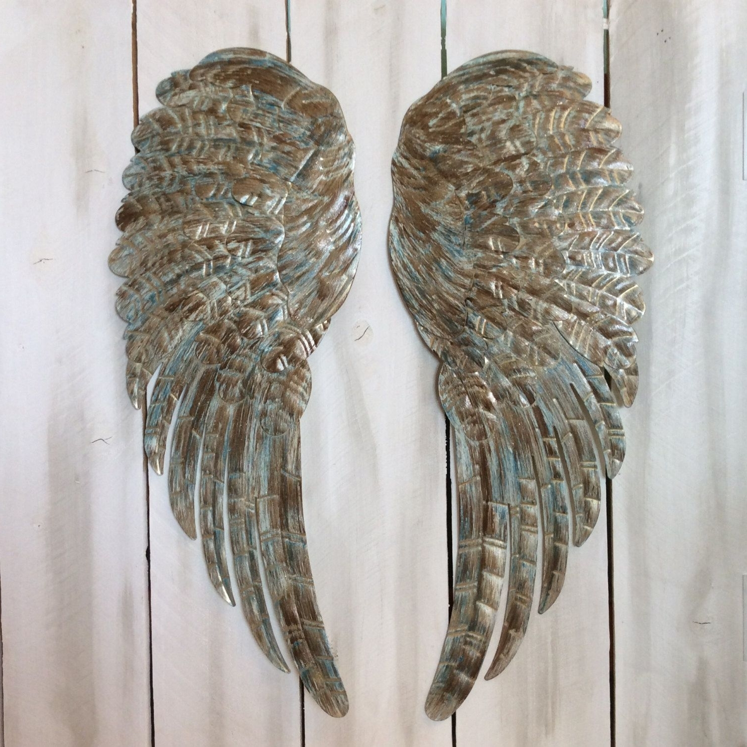 Angel Wings Wall Art With Regard To Current Large Metal Angel Wings Wall Decor, Distressed Turquoise , Ivory (View 5 of 15)