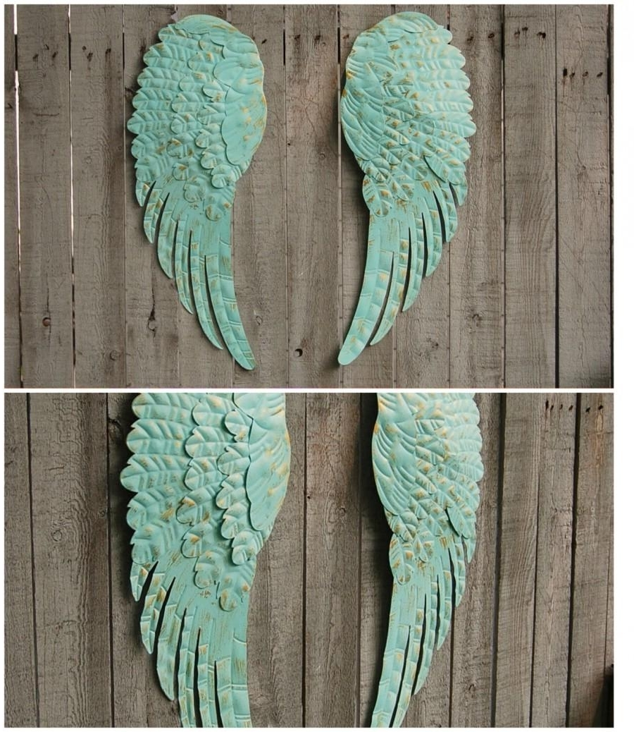 Angel Wings, Wall Decor, Shabby Chic, Aqua, Gold, Hand Painted Inside Most Recent Angel Wing Wall Art (View 2 of 15)