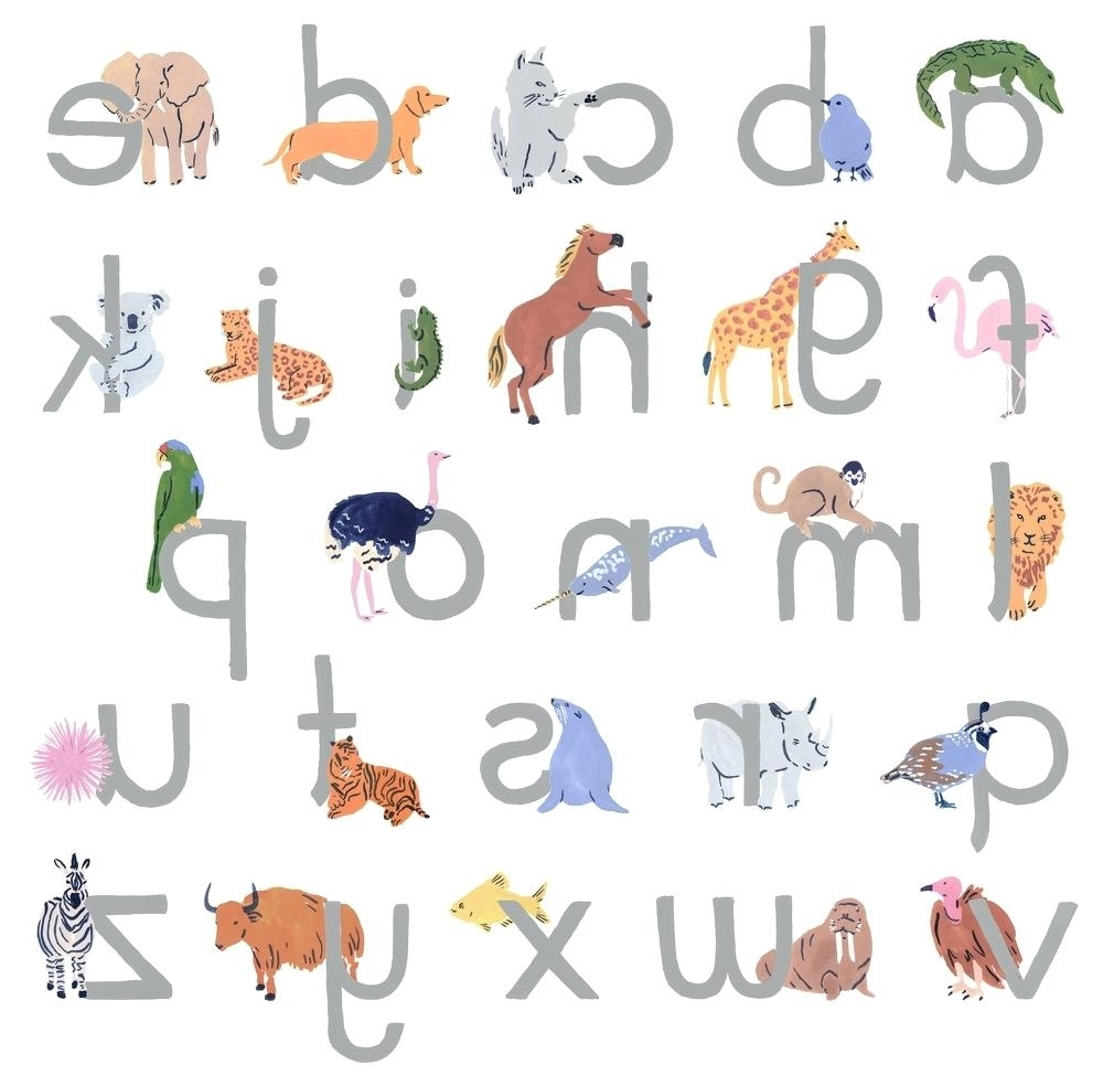 Animal Alphabet Wall Decals Alphabet Wall Art Wall Art Kit Within Fashionable Land Of Nod Wall Art (View 2 of 15)