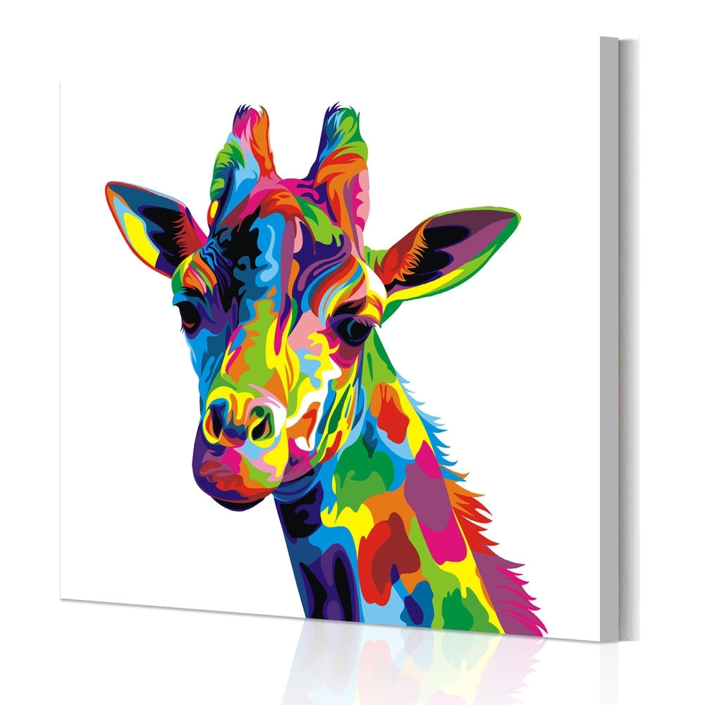 Animal Canvas Wall Art Regarding Most Recently Released Unframed Abstract Wall Art Colored Giraffe Canvas Prints Poster (View 4 of 15)